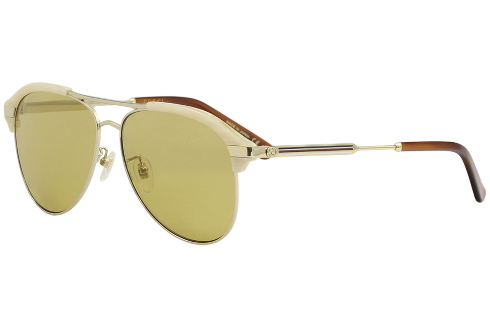 1bc59b3fd9e Details about Gucci Men s GG0288SA GG 0288S A 004 Beige Gold Fashion Pilot  Sunglasses 60mm