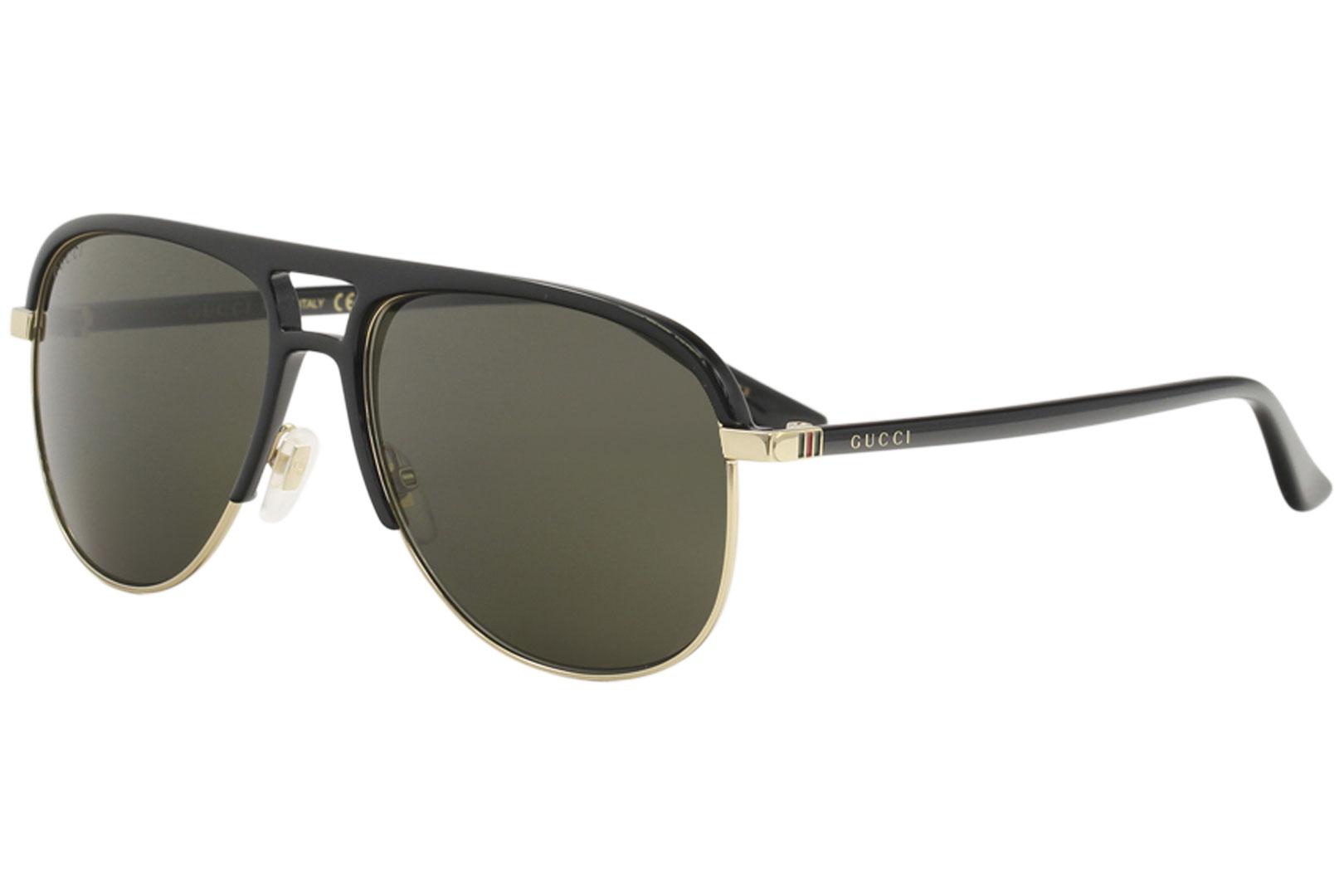 4fca166f6a5 Gucci Men s GG0292S GG 0292 S 001 Black Gold Fashion Pilot ...