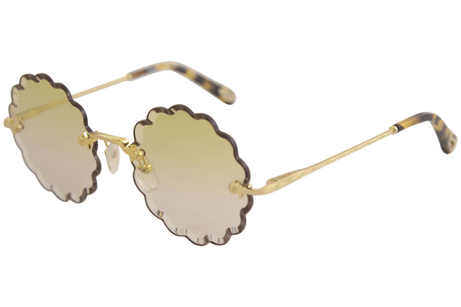 9c366dba83d Chloe Women s CE142S CE 142 S 826 Gold Fashion Round Sunglasses 53mm ...