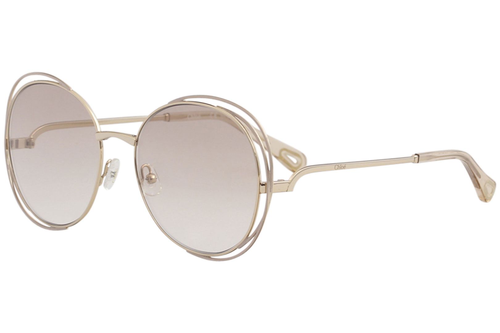 28f6c9c9013d Chloe Women s CE2138 CE 2138 825 Gold Pink Fashion Round Sunglasses ...