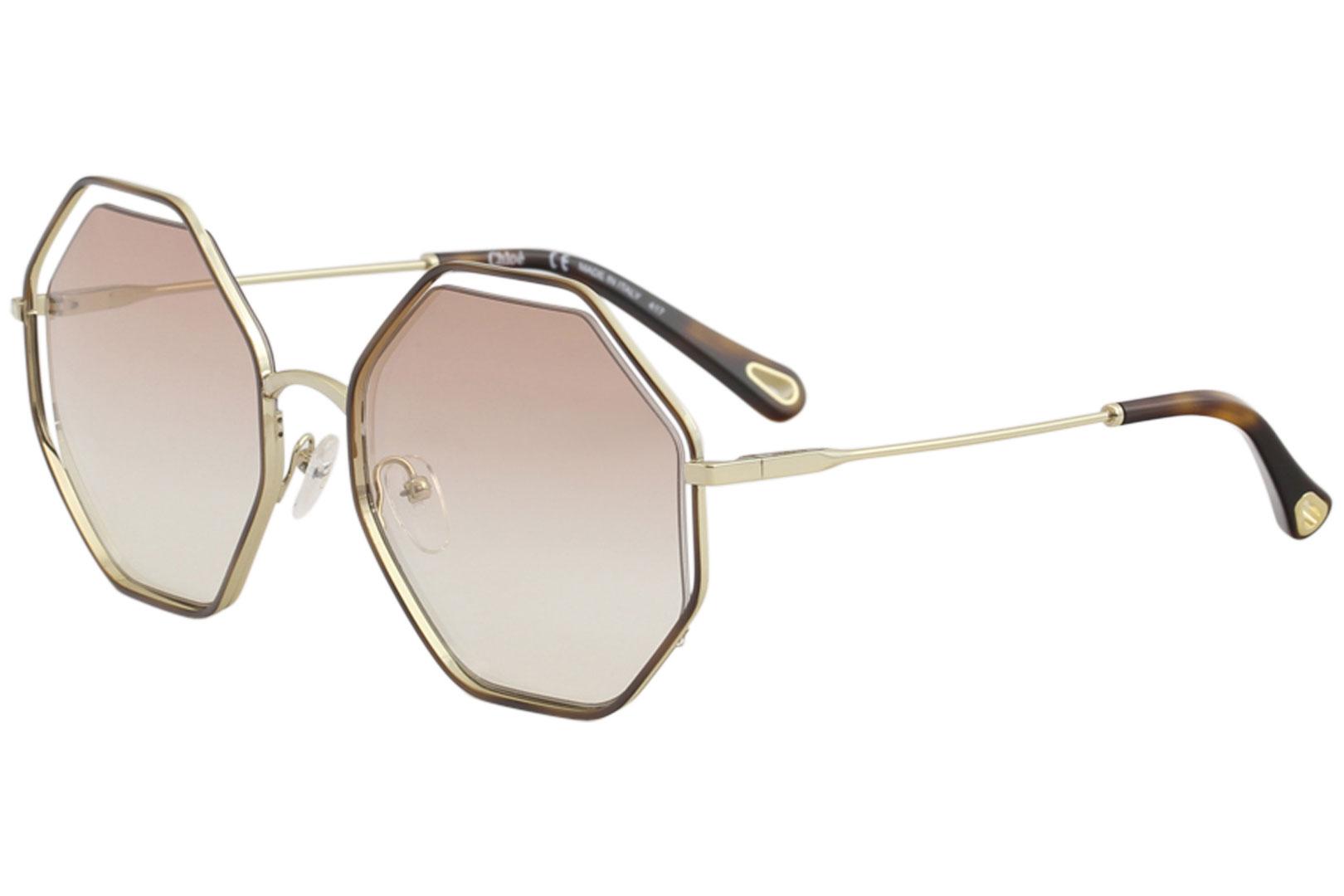 db7e42ae54ec Details about Chloe Women s CE132S CE 132 S 211 Havana Peach Fashion Round  Sunglasses 58mm