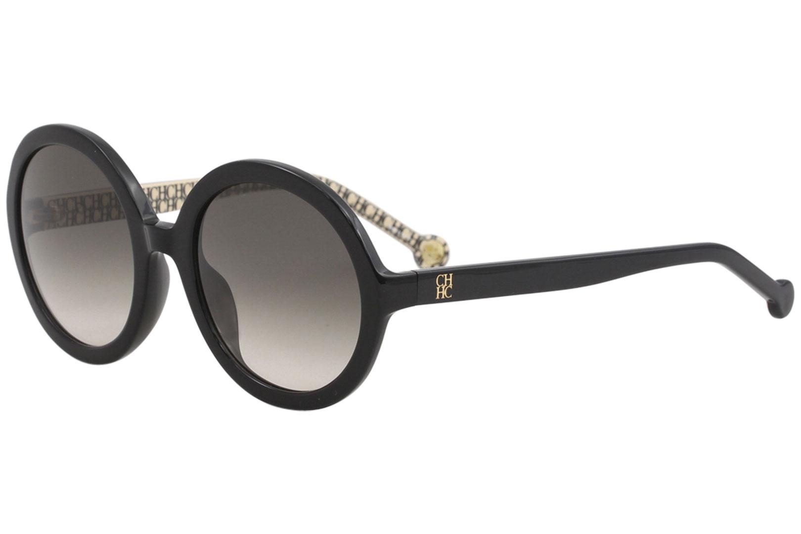 0083cceb60 CH Carolina Herrera SHE696 SHE 696 0700 Shiny Black Round Sunglasses ...