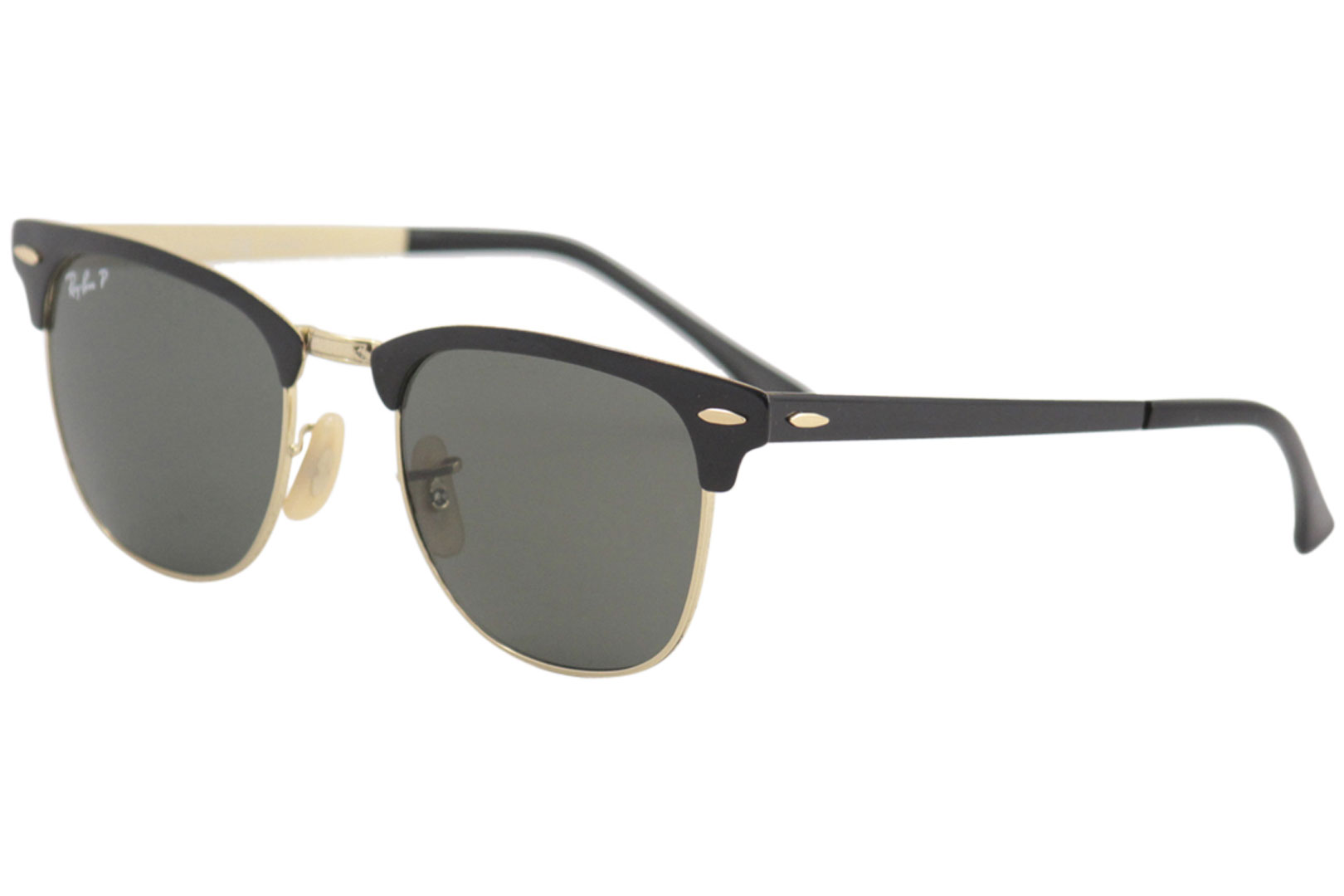 f70582ee76 Ray Ban Clubmaster 3716 187 58 Black Gold Green Polarized RayBan ...