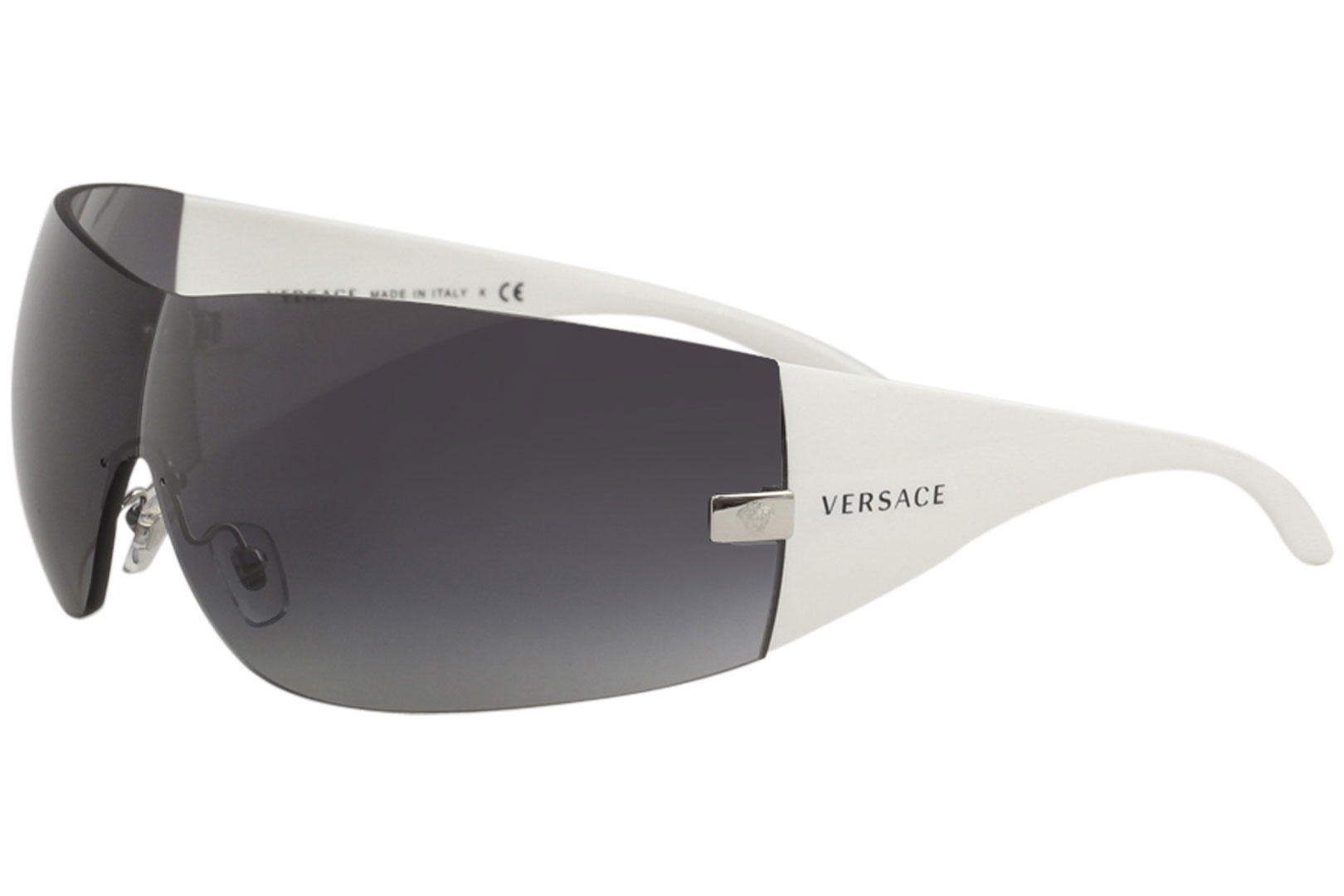308a28cc83 Details about Versace VE2054 VE 2054 1000 8G Silver White Shields Sunglasses