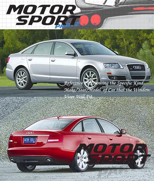 Light Smoke Rain Visor Deflector 4pcs Out-Channel For Audi A6 2005-2011