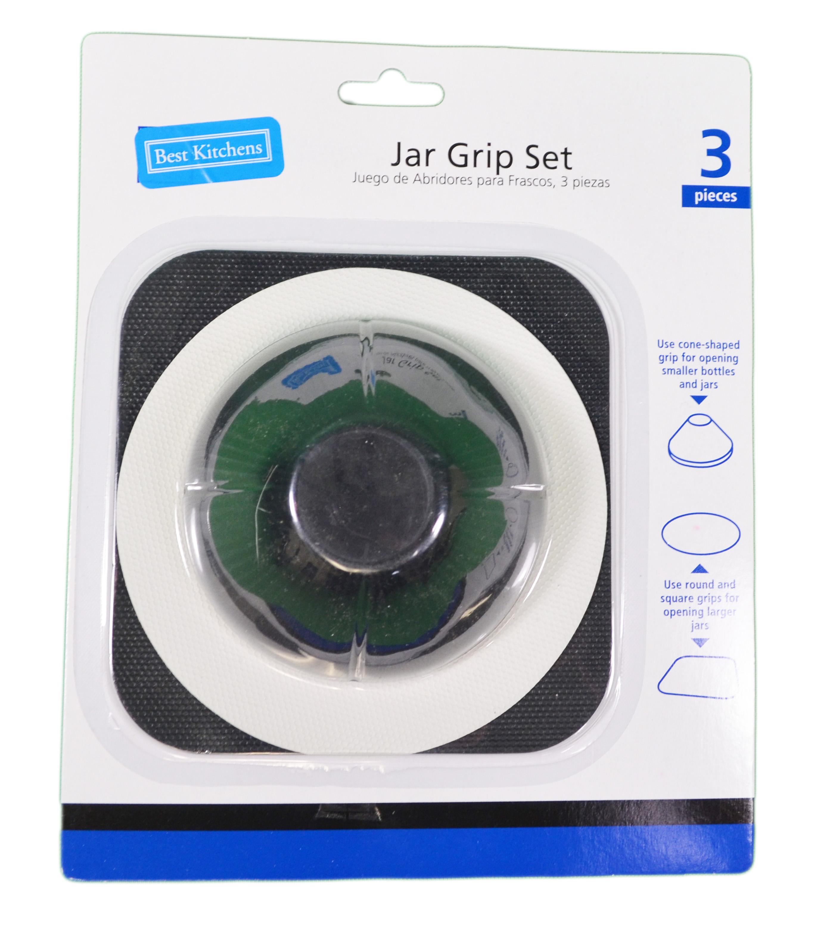 3 Piece Jar Grip Set Rubber Bottle Openers Multi Purpose