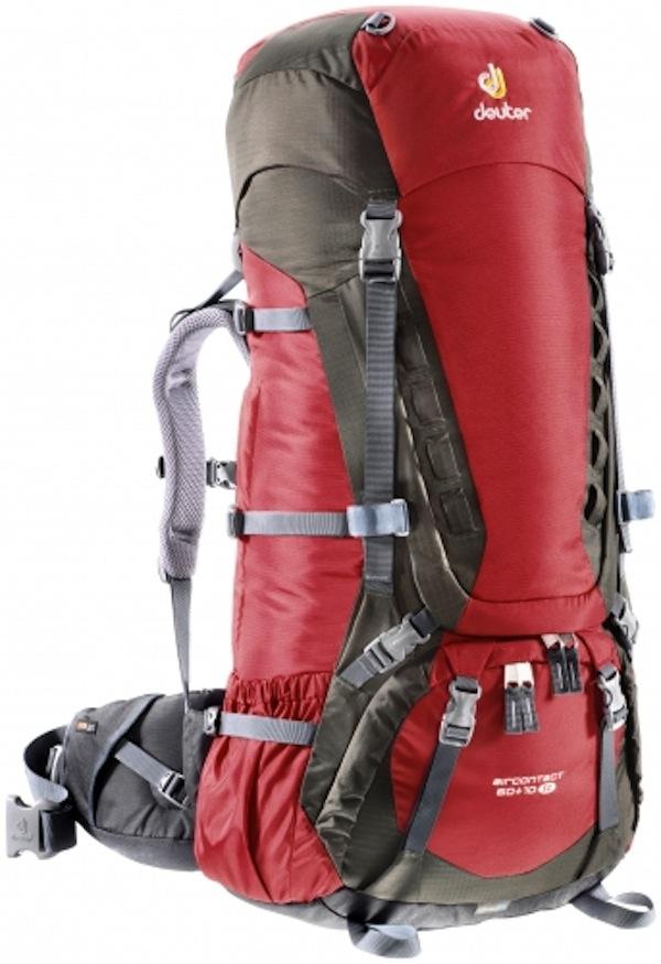 deuter aircontact 60 10 sl backpacking trekking backpack cranberry stone ebay. Black Bedroom Furniture Sets. Home Design Ideas