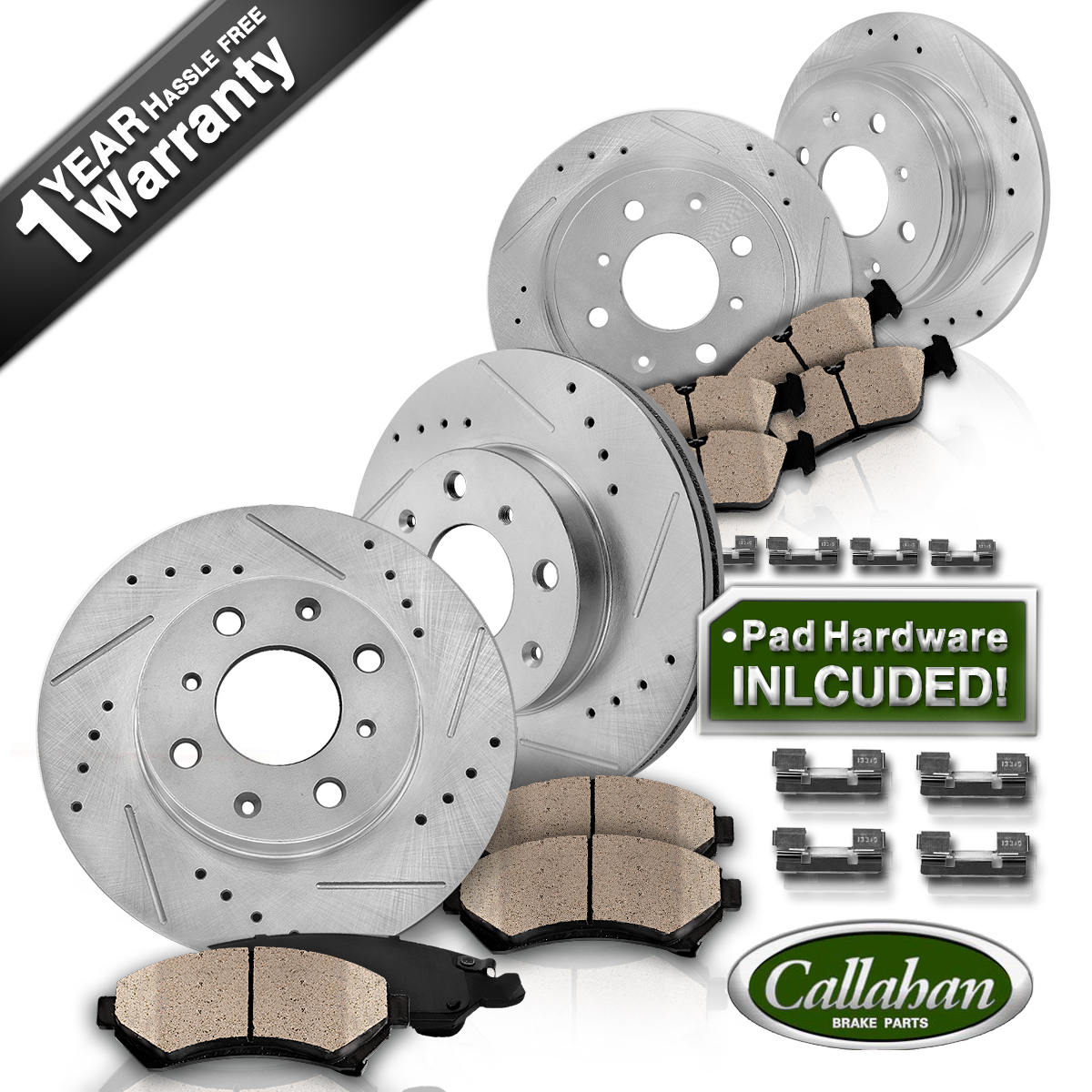 Front rear drill slot brake rotors ceramic pads 2012 2013 2014 2016 fiat