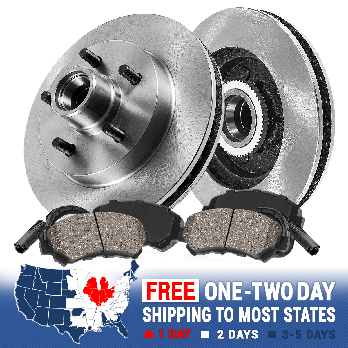 With Two Years Manufacturer Warranty Brake Pads Include Hardware Front Disc Brake Rotors and Ceramic Brake Pads for 2001 Chevrolet Tracker