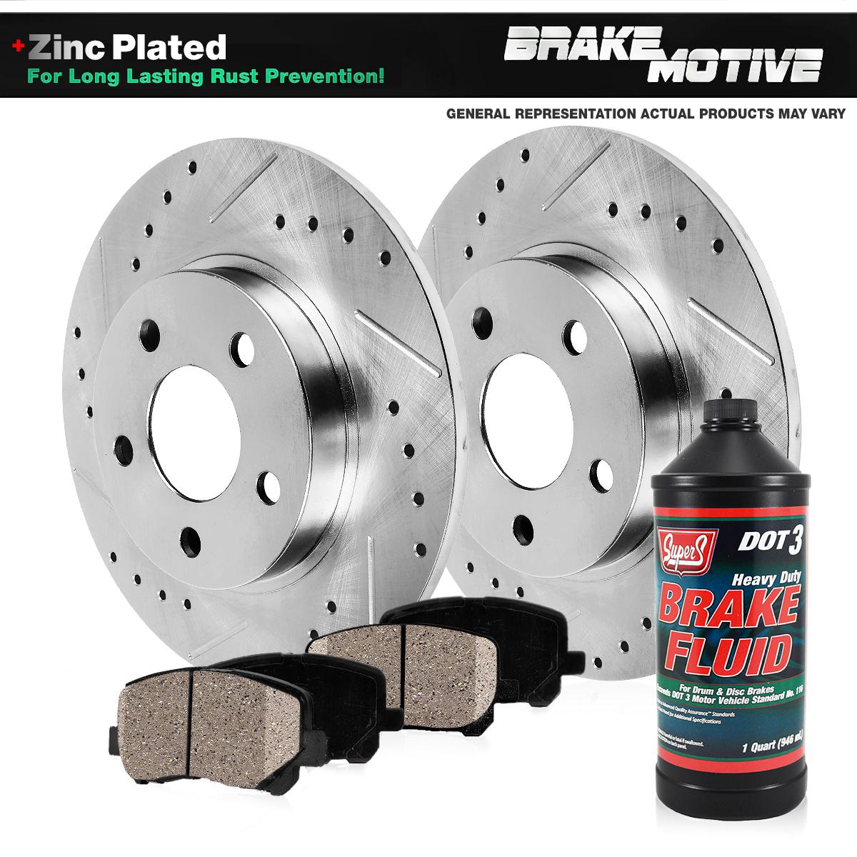 Front 2008-2012 Avenger Caliber Rotors w//Ceramic Pads Drilled Brakes