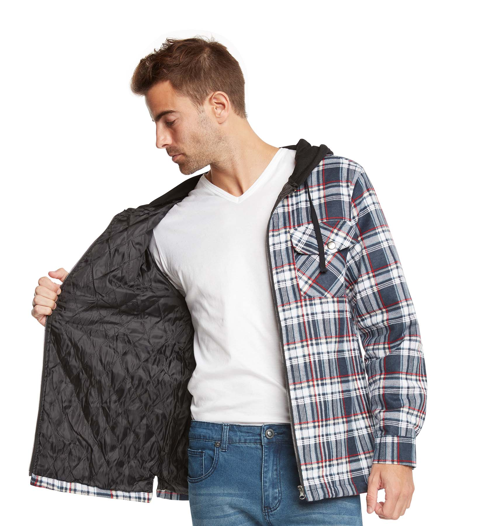9 Crowns Mens Quilted Lightweight Plaid Flannel Hoodie