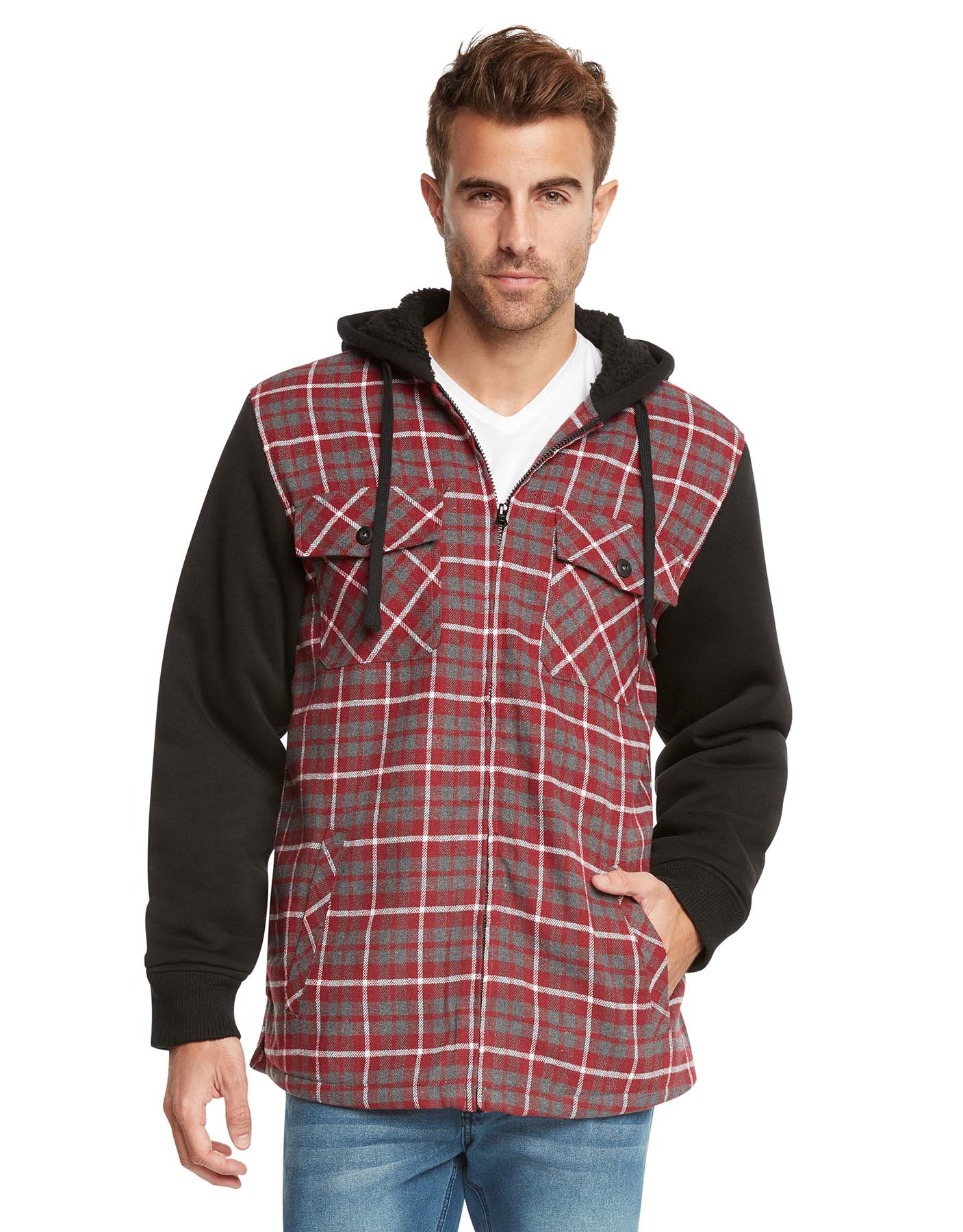 9 crowns essentials sherpa lined plaid flannel hoodie jacket ebay - Hooi plaid ...