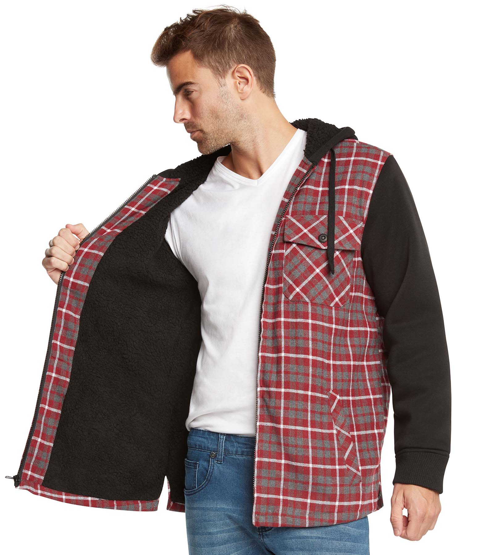 9 crowns essentials sherpa lined plaid flannel hoodie for Sherpa lined plaid shirt
