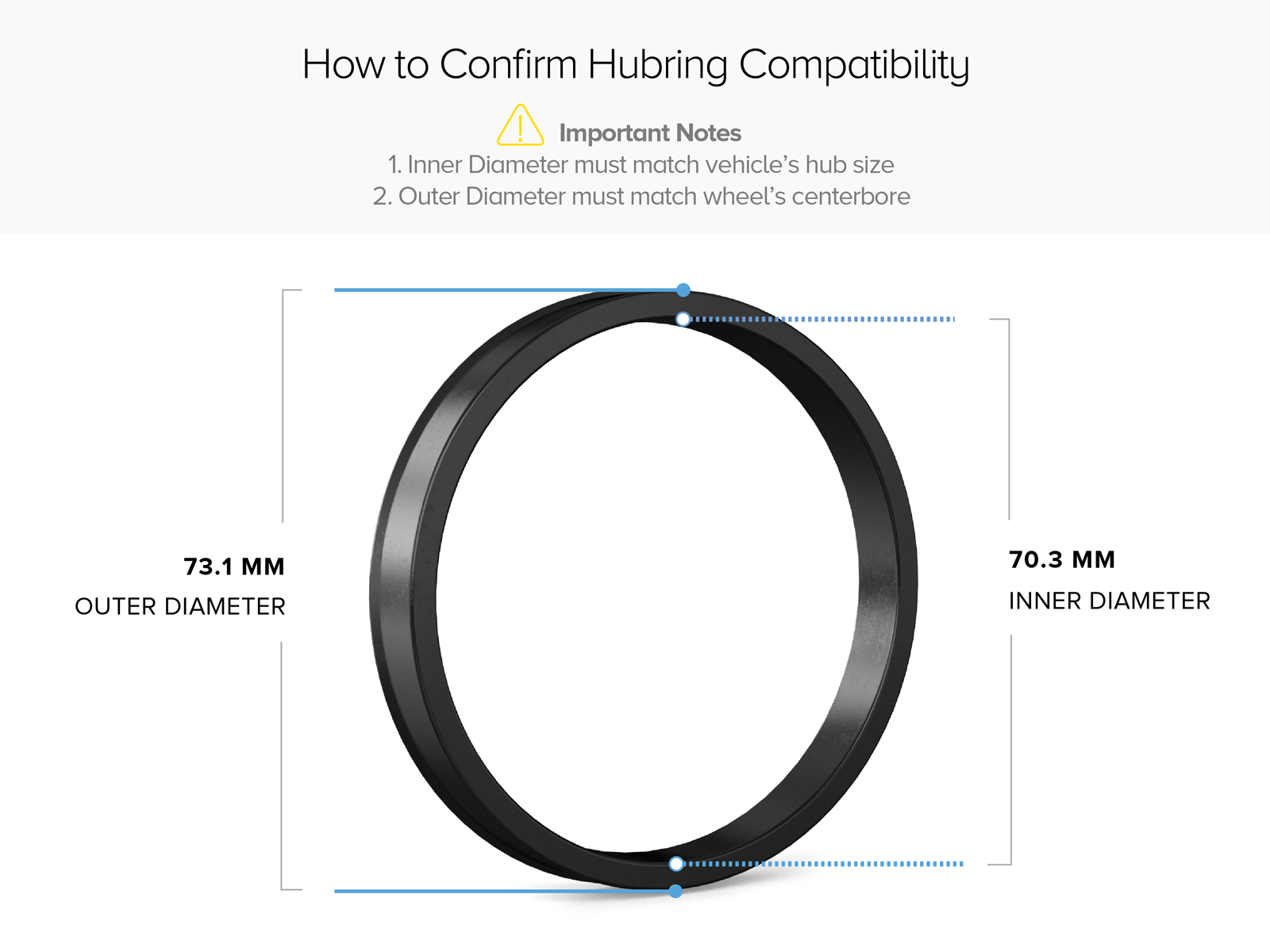 4pc Aluminum Hubrings 70.3mm Car Hub to 73mm Wheel Bore ID 70.3 OD 73