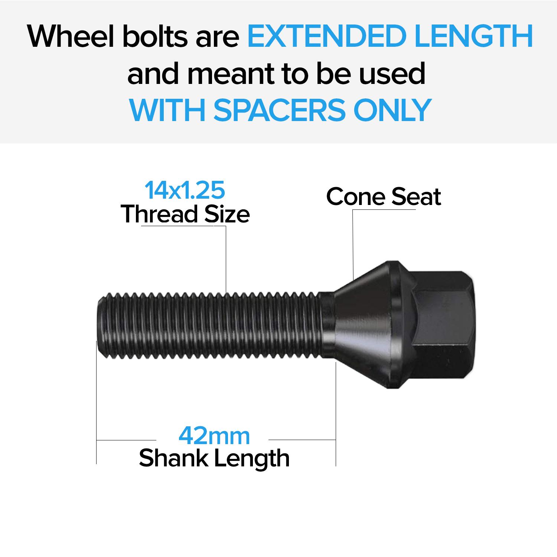 20pc Extended 14x1.25 Black Lug Bolts F10 F30 BMW43mm 42mm Shank Cone Seat