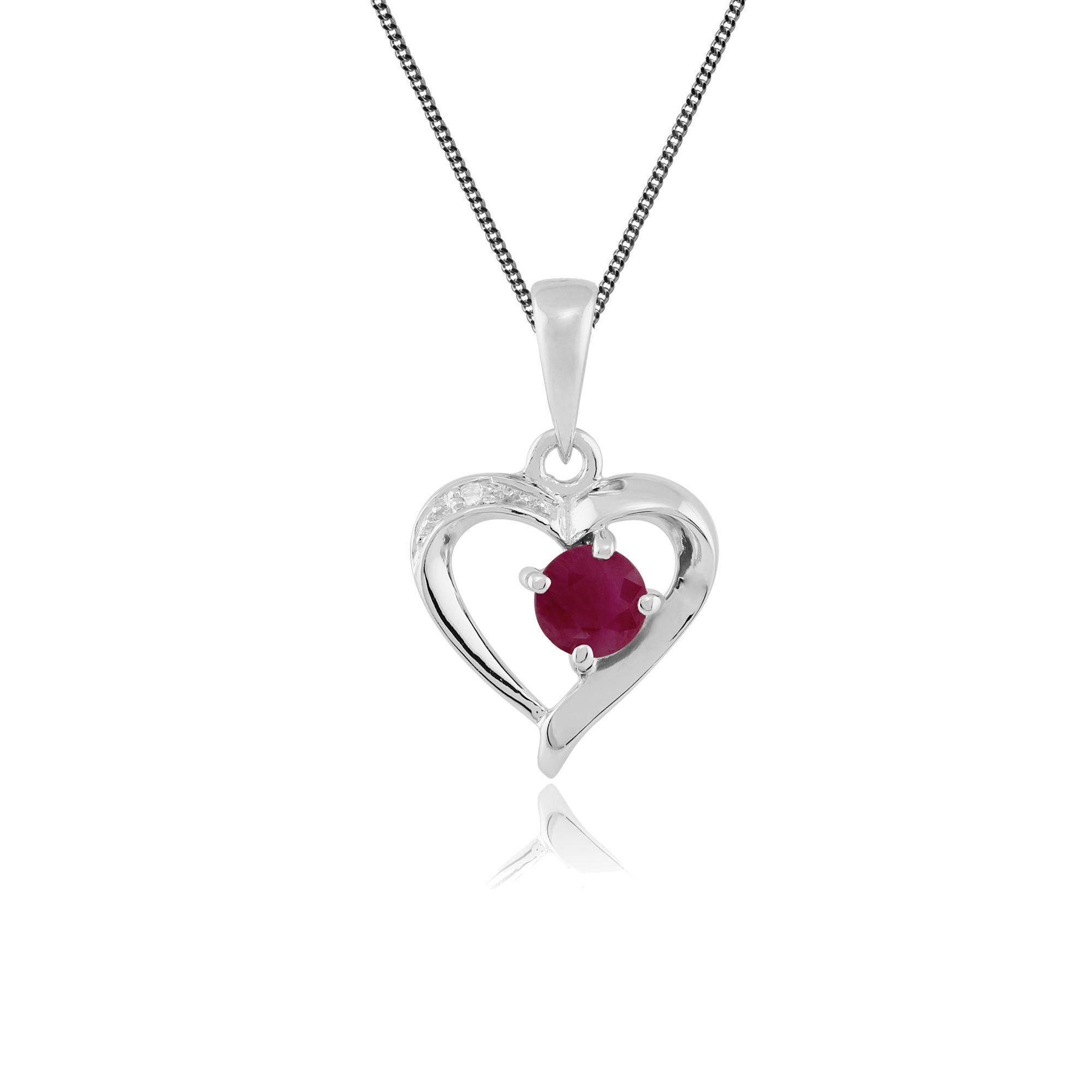 8fe9606ea7a1f4 Details about Gemondo 9ct White Gold 0.30ct Genuine Ruby & Diamond Heart Pendant  on 45cm Chain