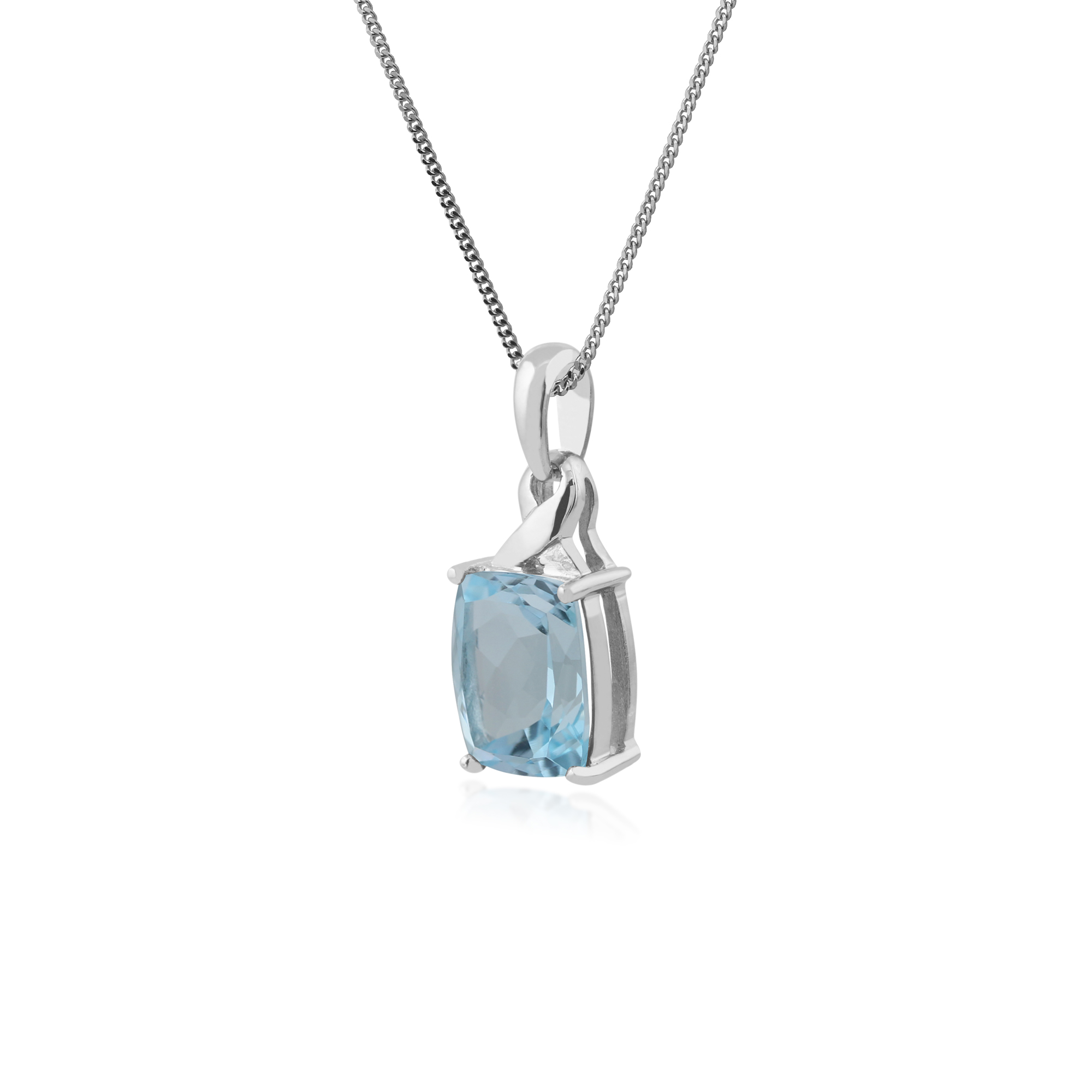 gemondo 9ct white gold 3 77ct blue topaz pendant on 45cm