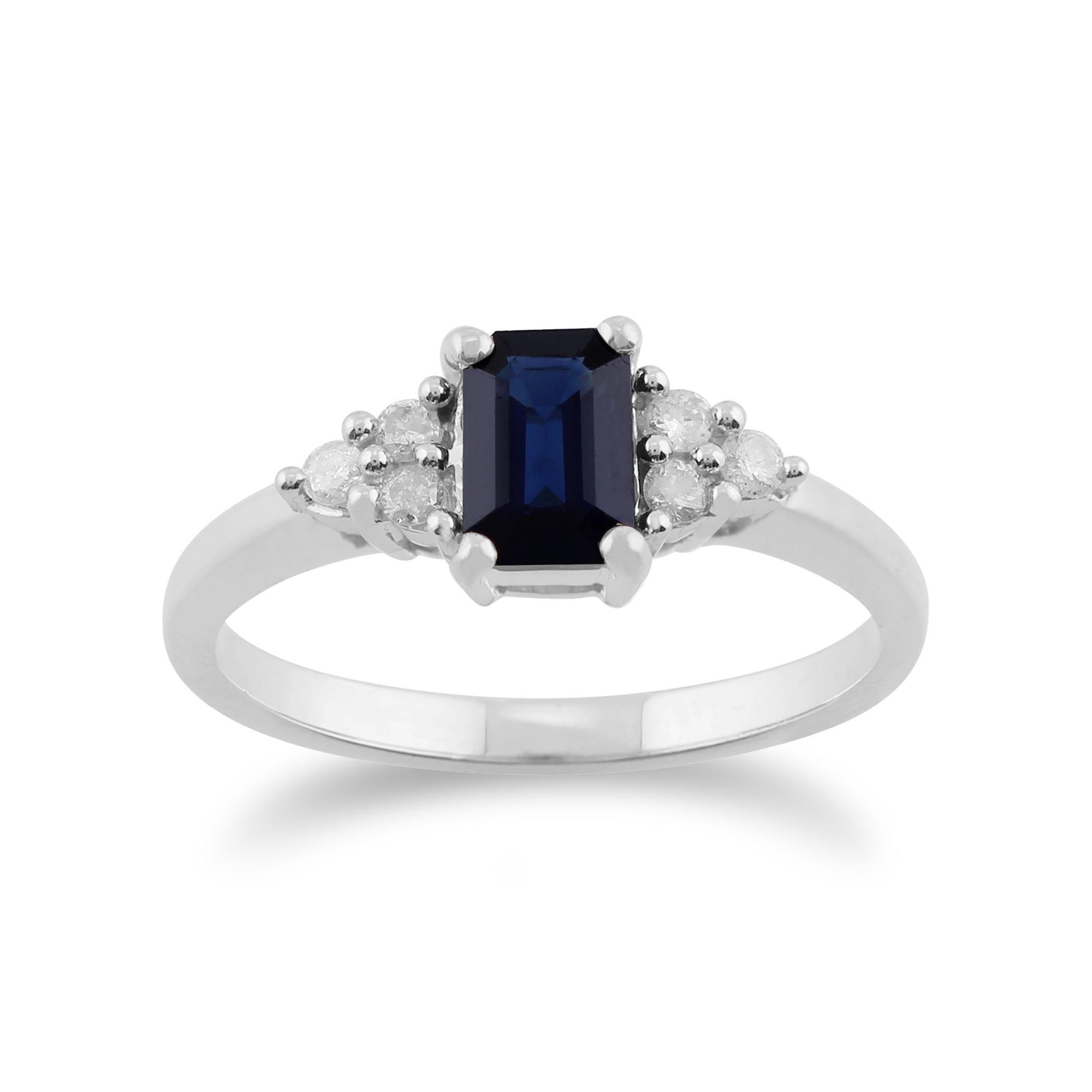 Gemondo 9ct White Gold 0 88ct Blue Sapphire & Diamond Ring