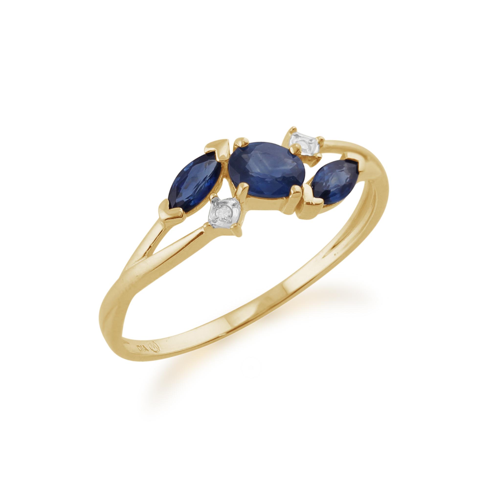9ct oro Giallo 0.70ct di Kanchanaburi Zaffiro & Anello Anello Anello di diamanti classico dimensioni 36c138