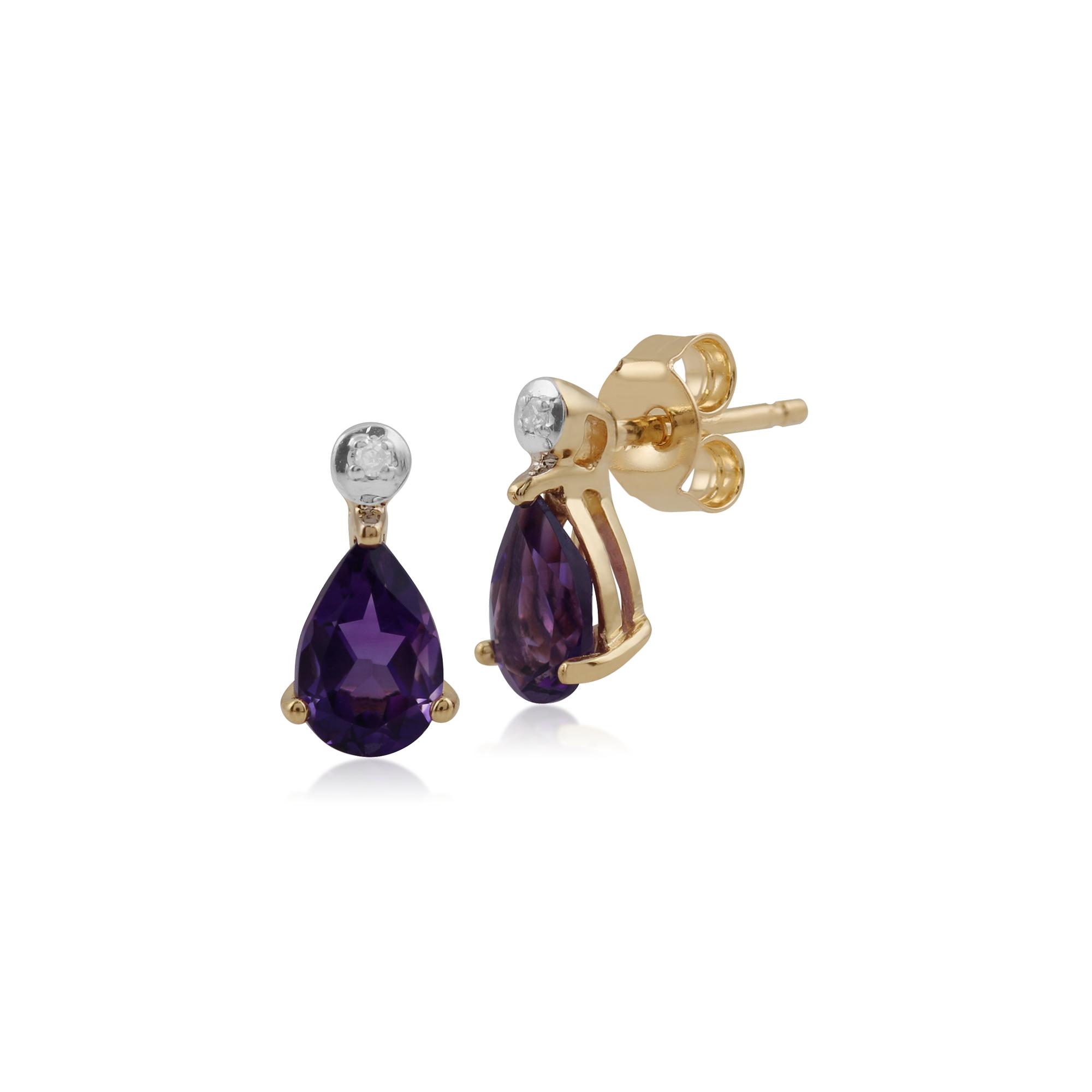 4061b3c25 Details about Gemondo 9ct Yellow Gold 0.72ct Amethyst & Diamond Pear Stud  Earrings