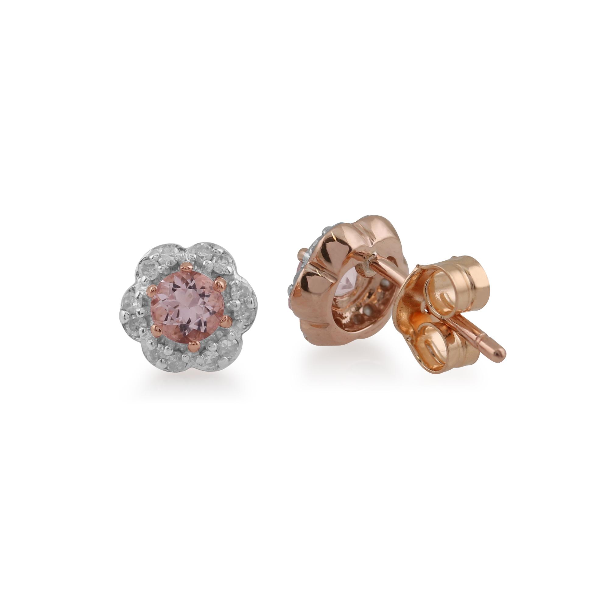 gemondo 9ct rose gold morganite diamond floral. Black Bedroom Furniture Sets. Home Design Ideas