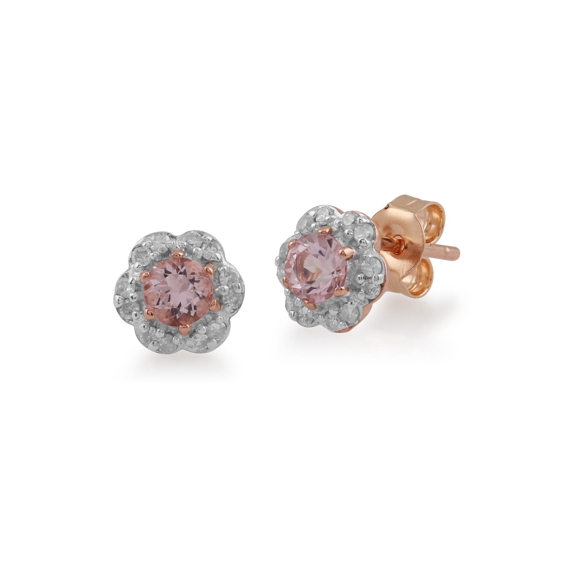 gemondo 9ct rosegold morganit diamant blumenmuster ohrstecker ebay. Black Bedroom Furniture Sets. Home Design Ideas