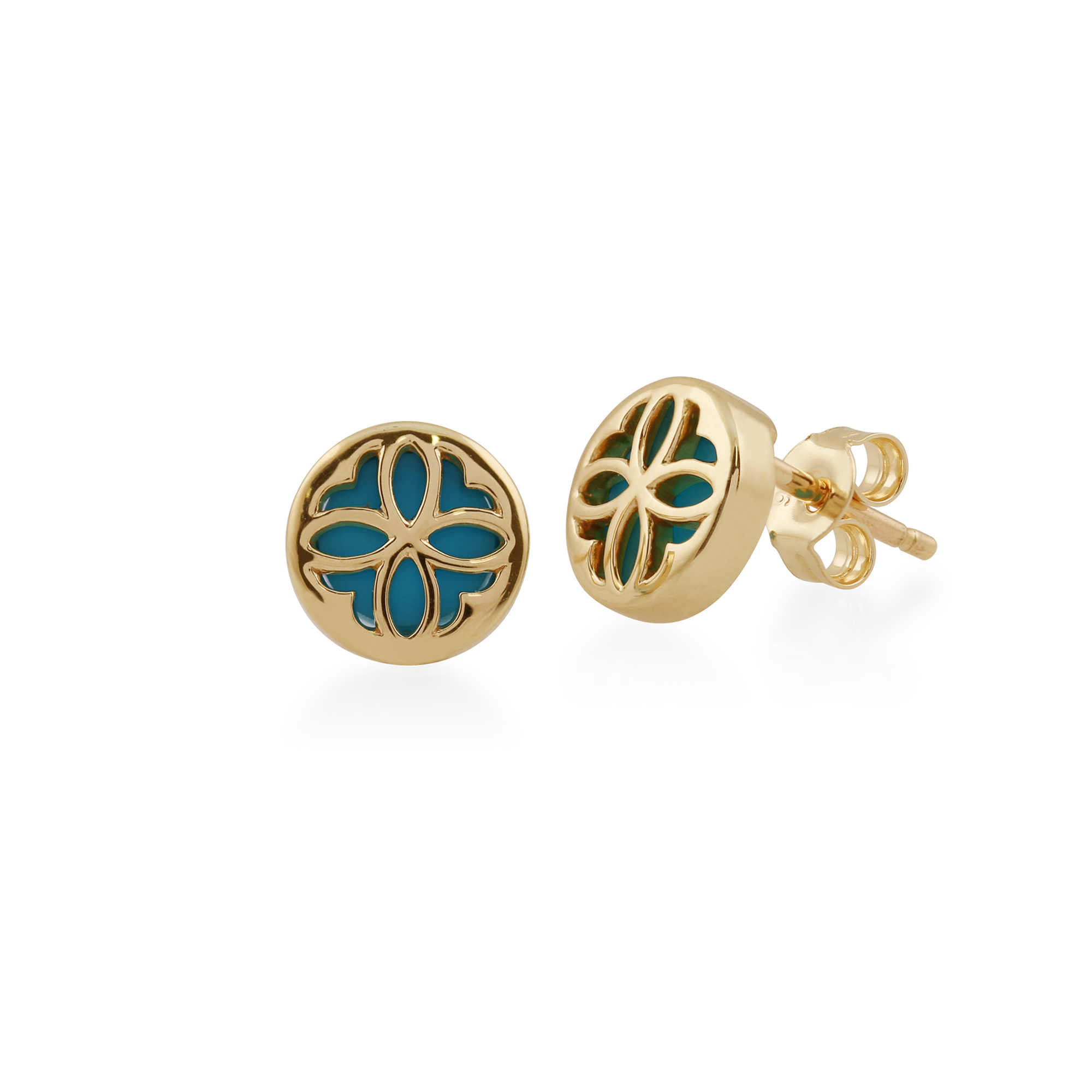 7eb59ad66 Details about Gemondo 9ct Yellow Gold 0.64ct Turquoise Stud Earrings