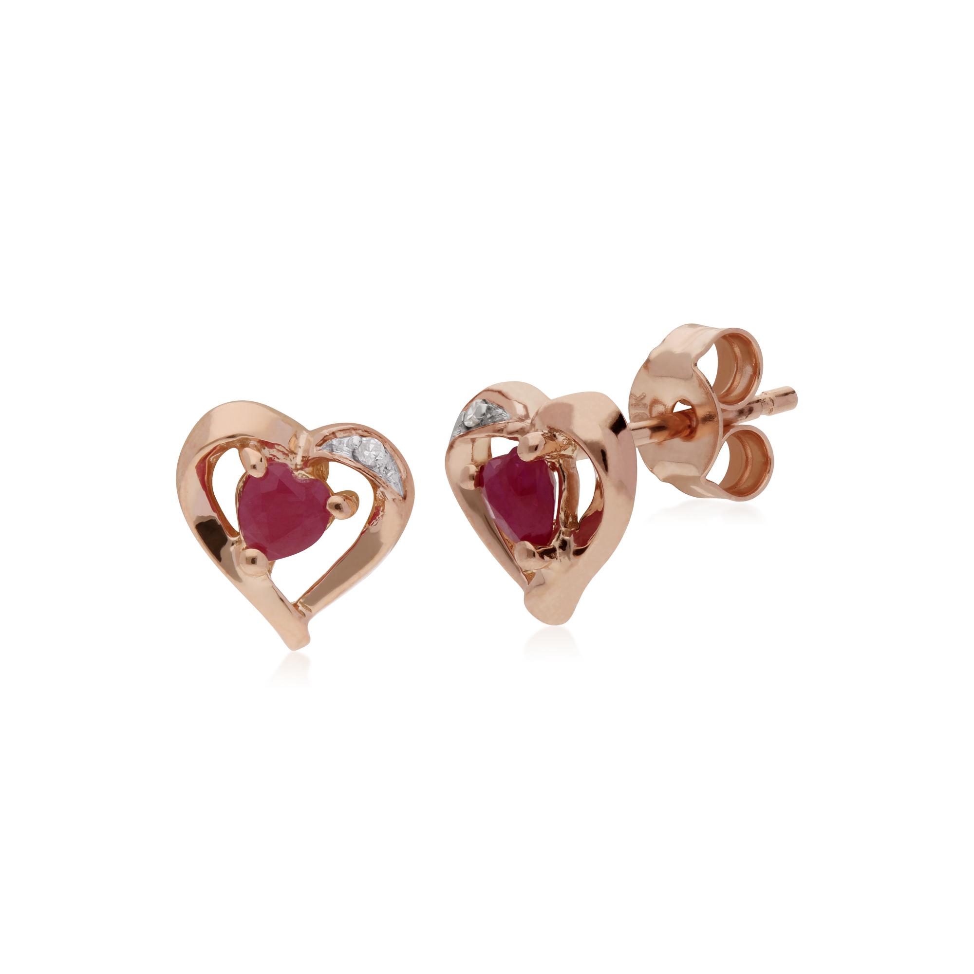 1d9985e6d Gemondo 9ct Rose Gold Natural Ruby & Diamond Heart Stud Earrings. Item SKU:  135E1493019