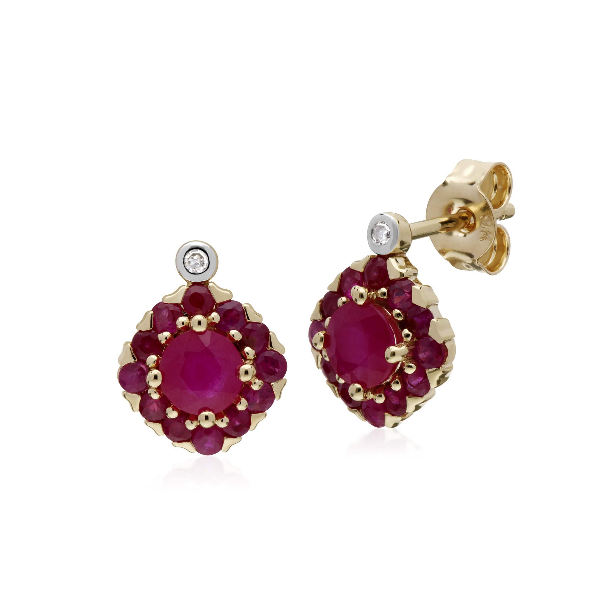 a267b2e66 Details about Gemondo 9ct Yellow Gold Ruby & Diamond Square Cluster Stud  Earrings