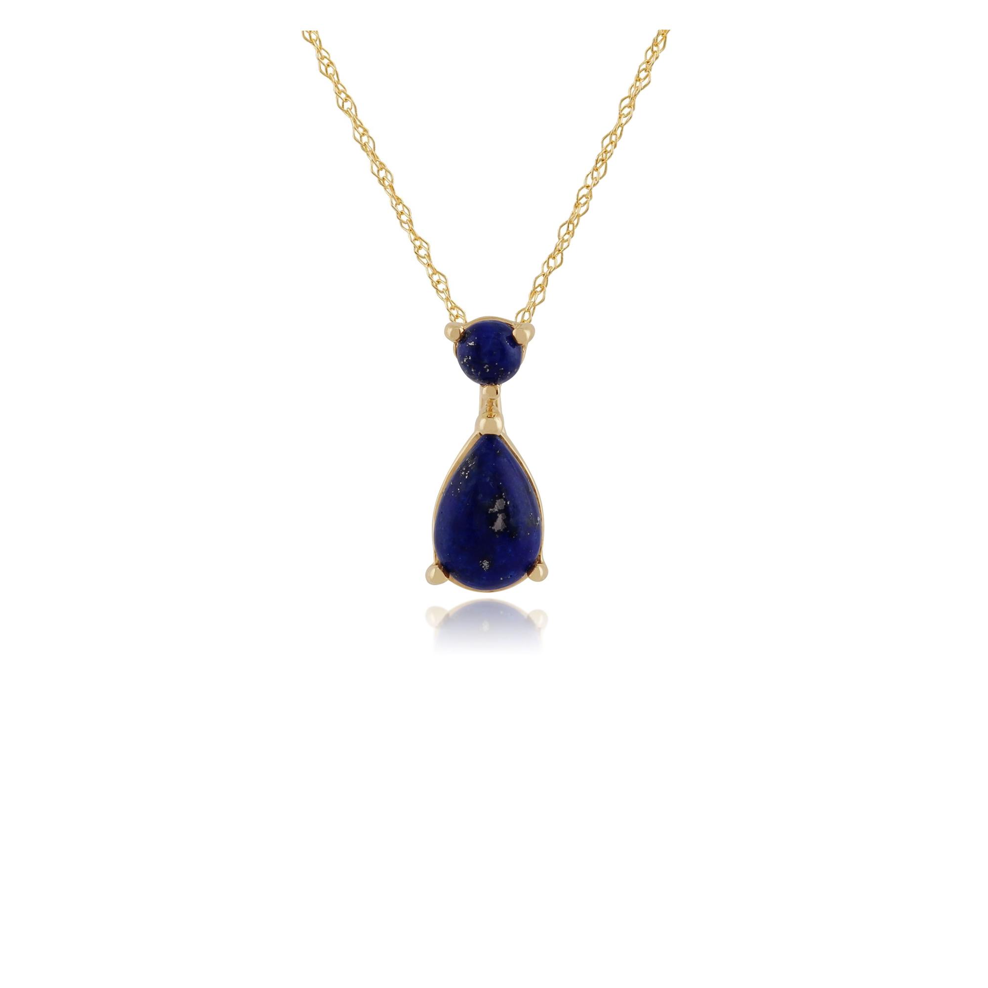 Gemondo 9ct Yellow Gold 0.56ct Lapis Lazuli Single Stone Oval Framed Ring