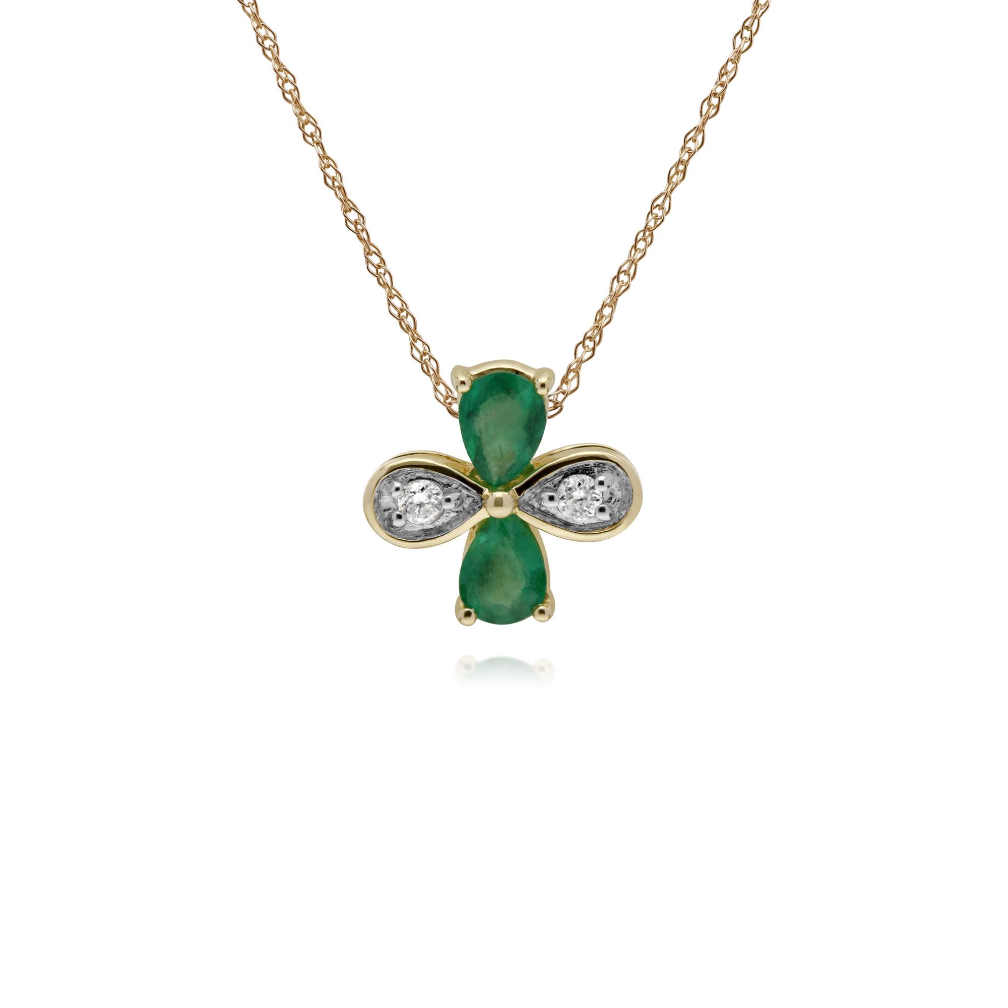 Gemondo 9ct Yellow gold Emerald & Diamond Floral Pendant on 45cm Chain