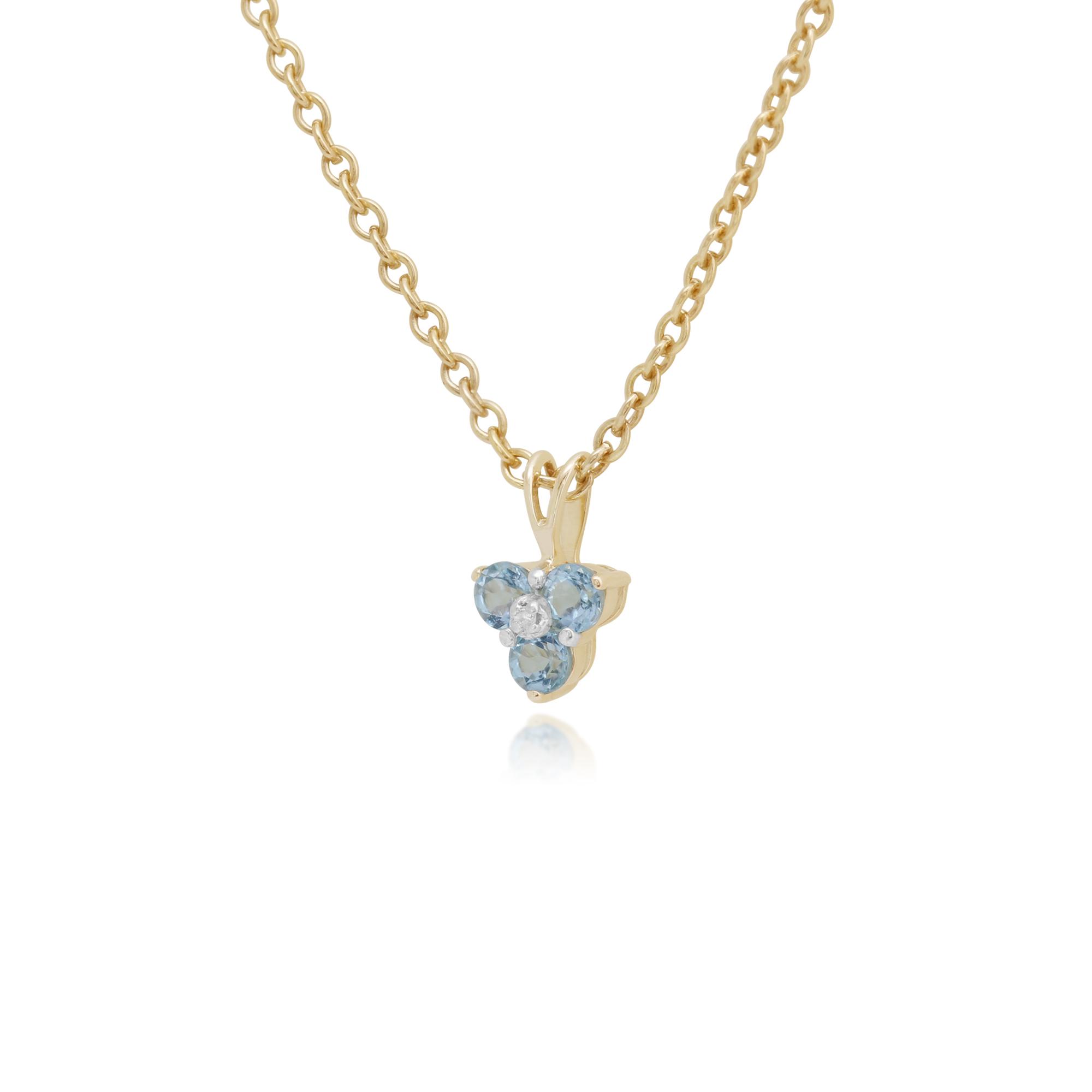 9ct Yellow gold 0.39ct bluee Topaz & Diamond Classic Cluster Pendant