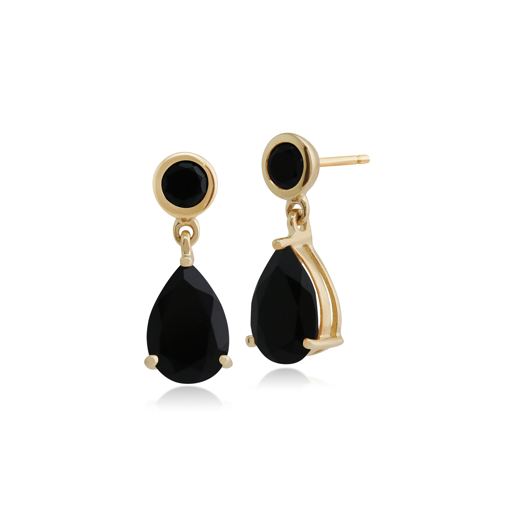 BALL 9ct YELLOW GOLD DROP EARRINGS 10mm GENUINE FACETED BLACK ONYX ROUND BEAD