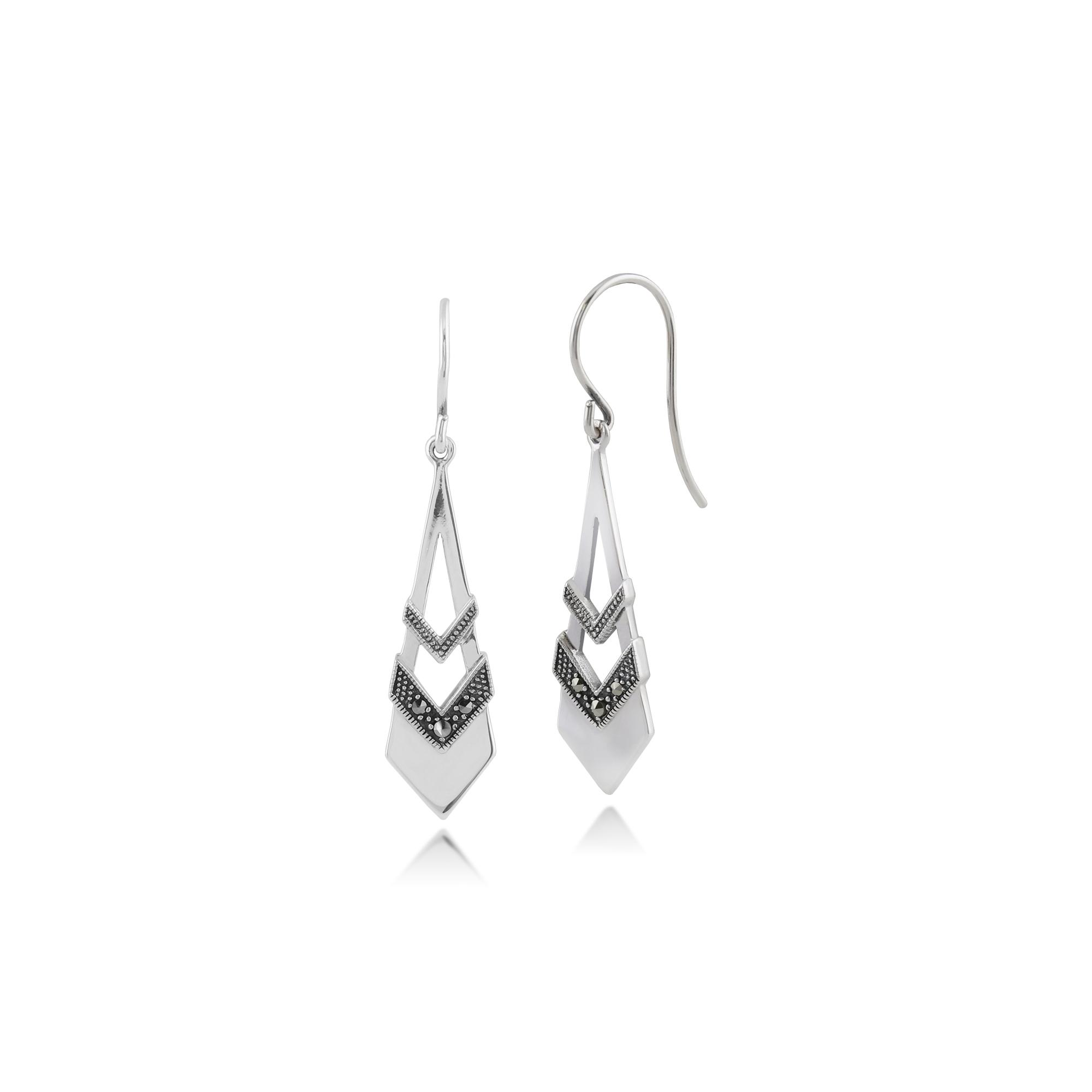 Gemondo Sterling Silver Art Deco Black /& White Enamel /& Marcasite Drop Earrings