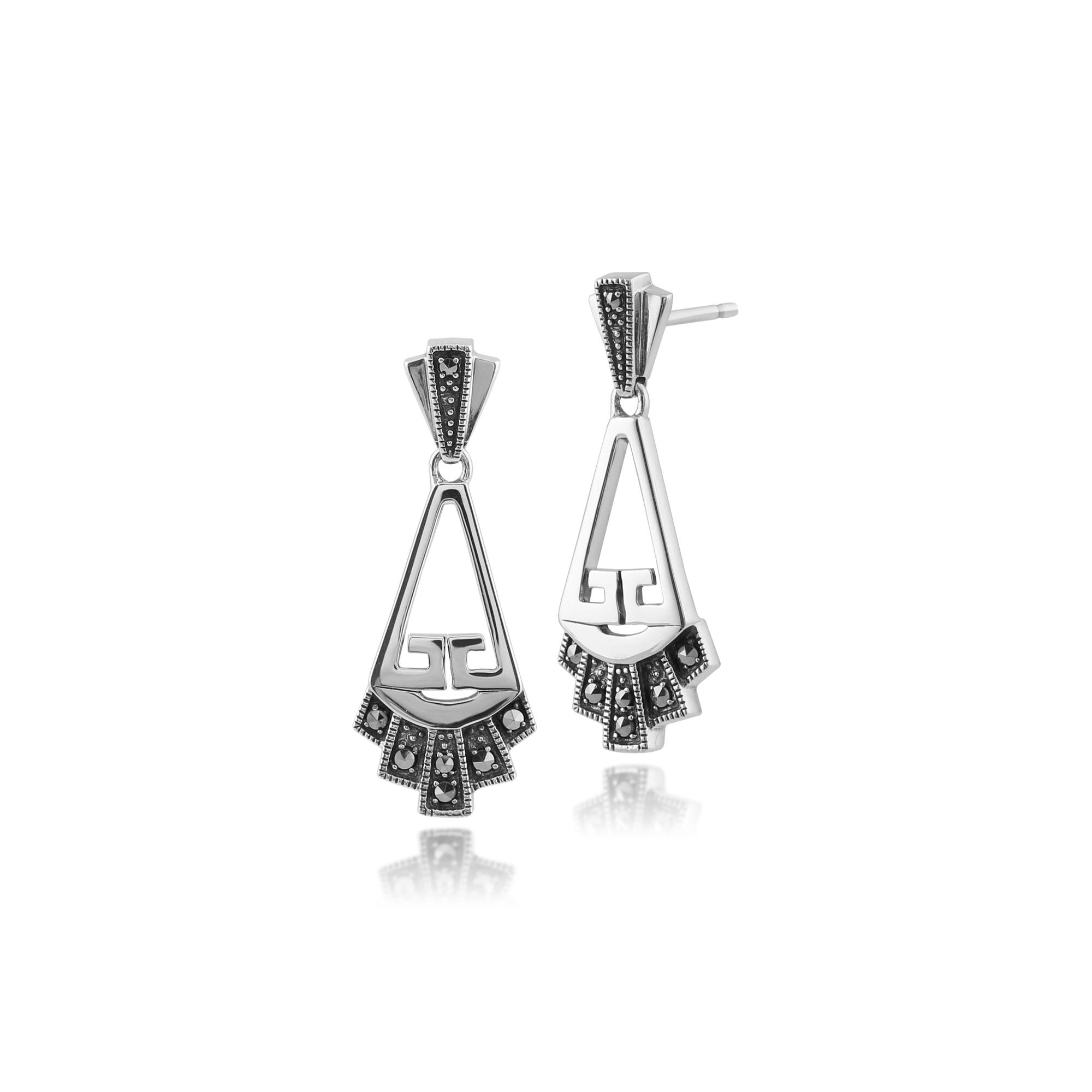 gemondo 925 sterling silver art deco marcasite drop earrings ebay. Black Bedroom Furniture Sets. Home Design Ideas
