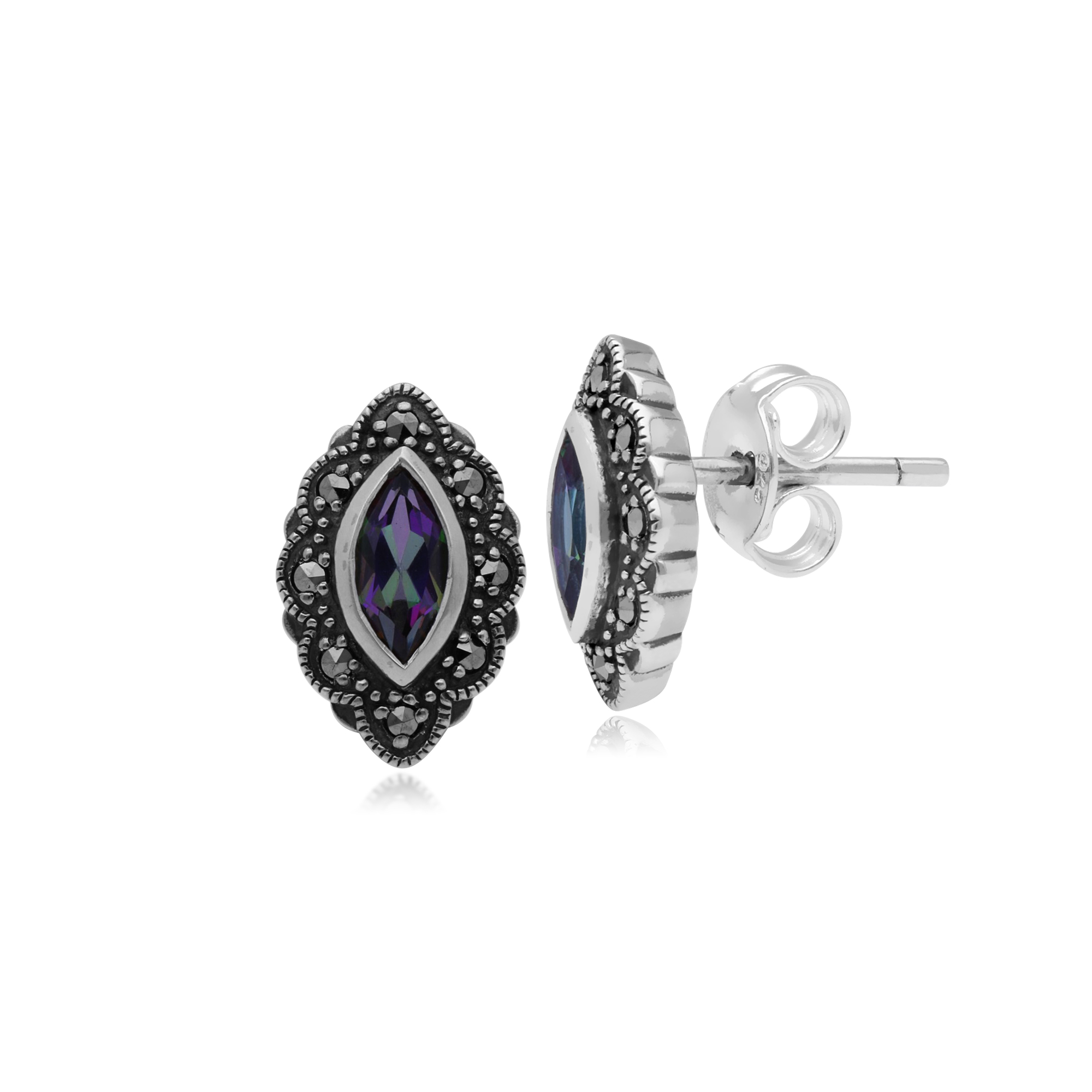 Gemondo 925 Sterling Silver Art Deco Mystic Green Topaz /& Marcasite Ring