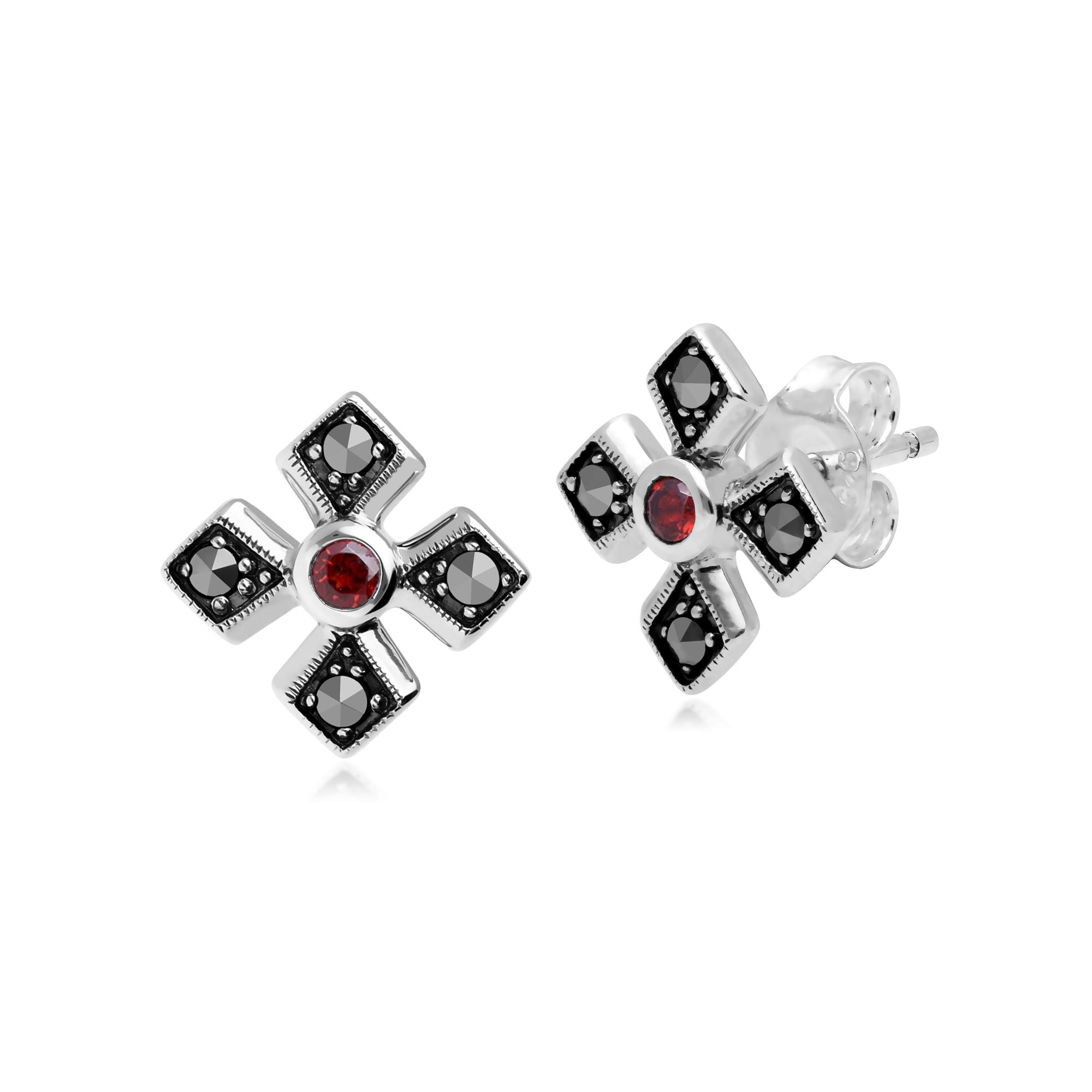 Gemondo Sterling Silver Triple Mozambique Garnet /& Marcasite January Ring