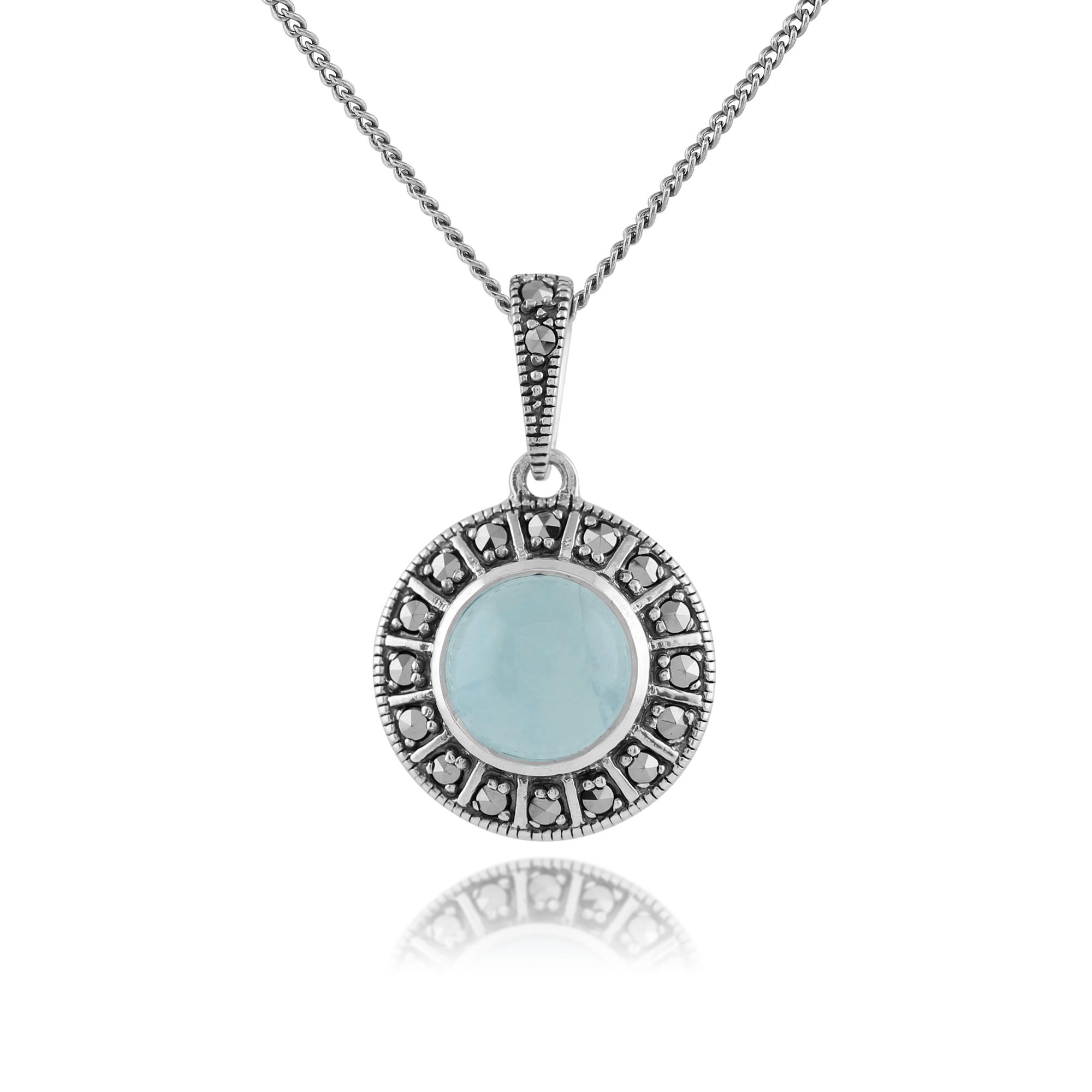Aquamarine Necklaces: Gemondo 925 Sterling Silver Milky Aquamarine & Marcasite