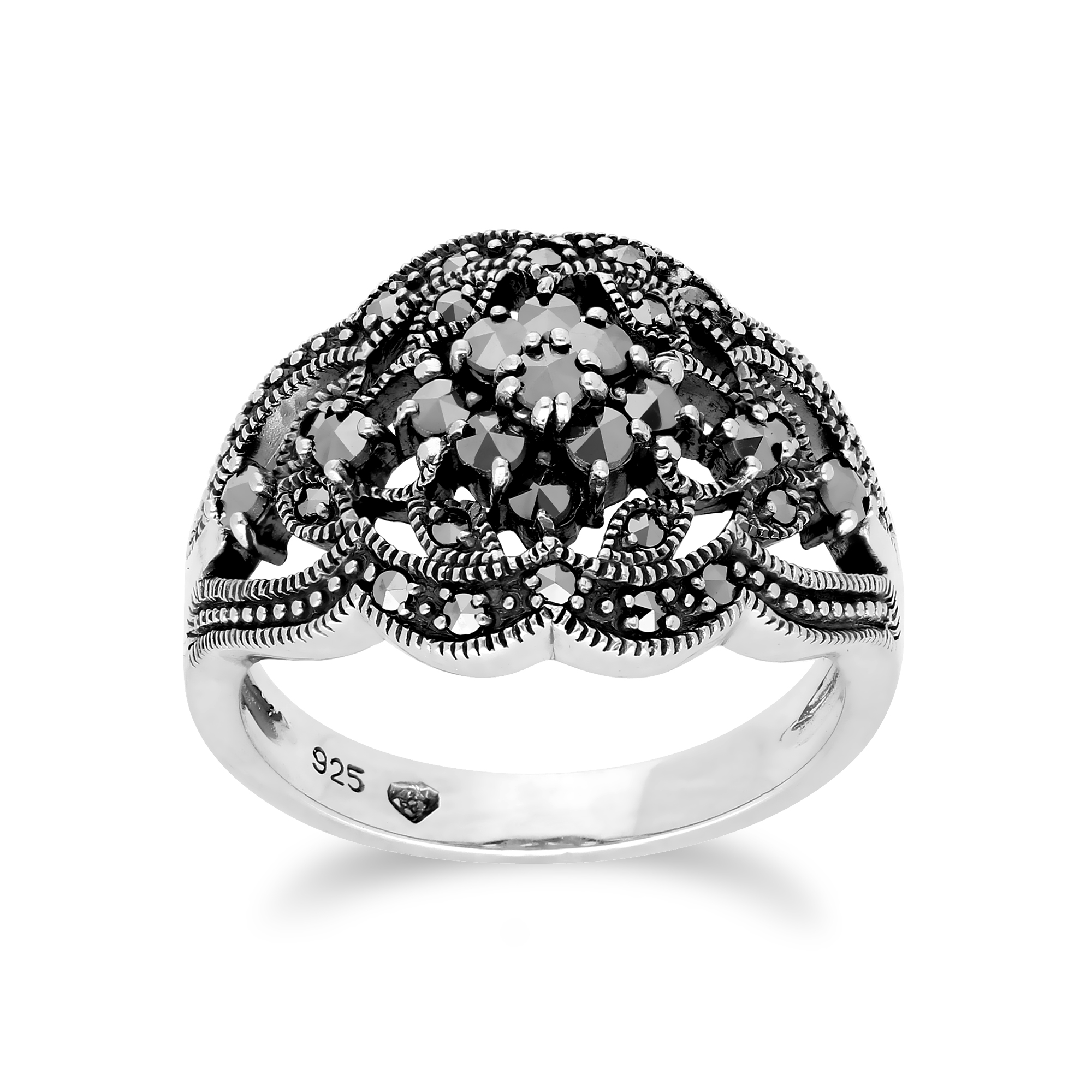 Sterling Silver 2.00ct Rock Crystal /& Marcasite Cluster Ring