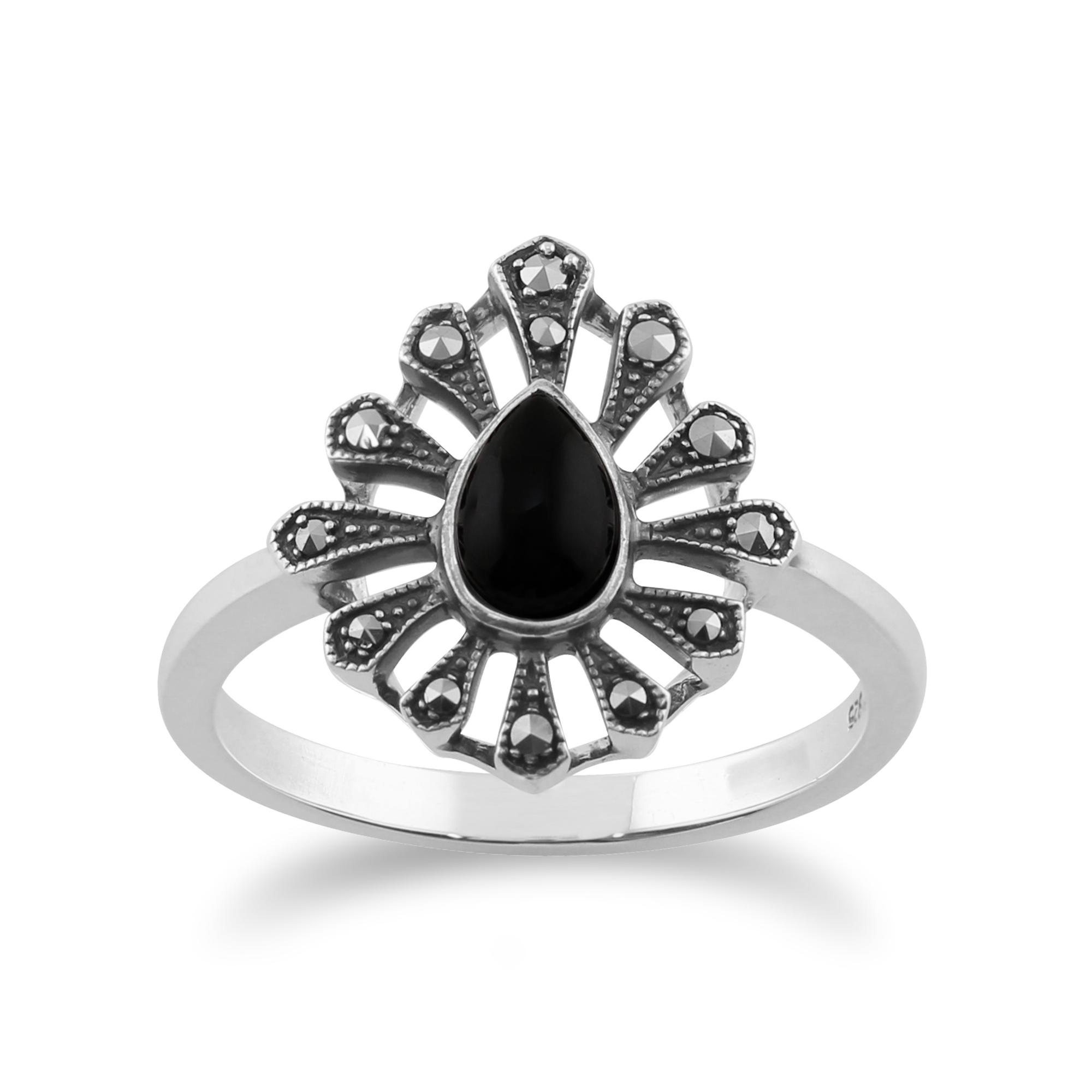 Gemondo 925 Sterling Silver 0.30ct Black Onyx /& Marcasite Art Deco Ring