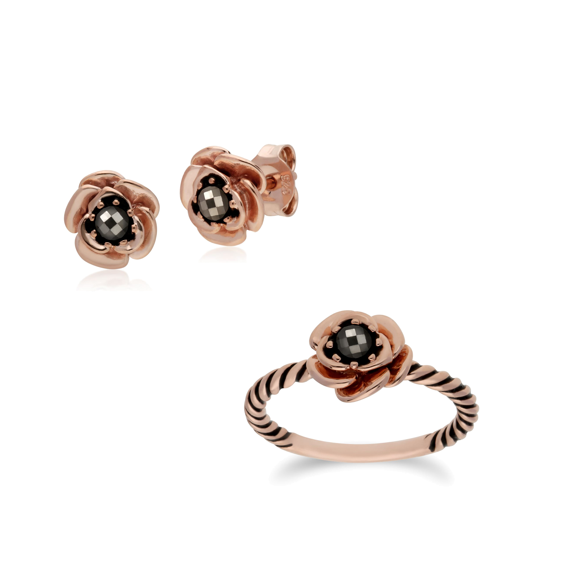 bcdd1beca Details about Rose Gold Plated Sterling Silver Floral Marcasite Stud Earring  & Ring Set