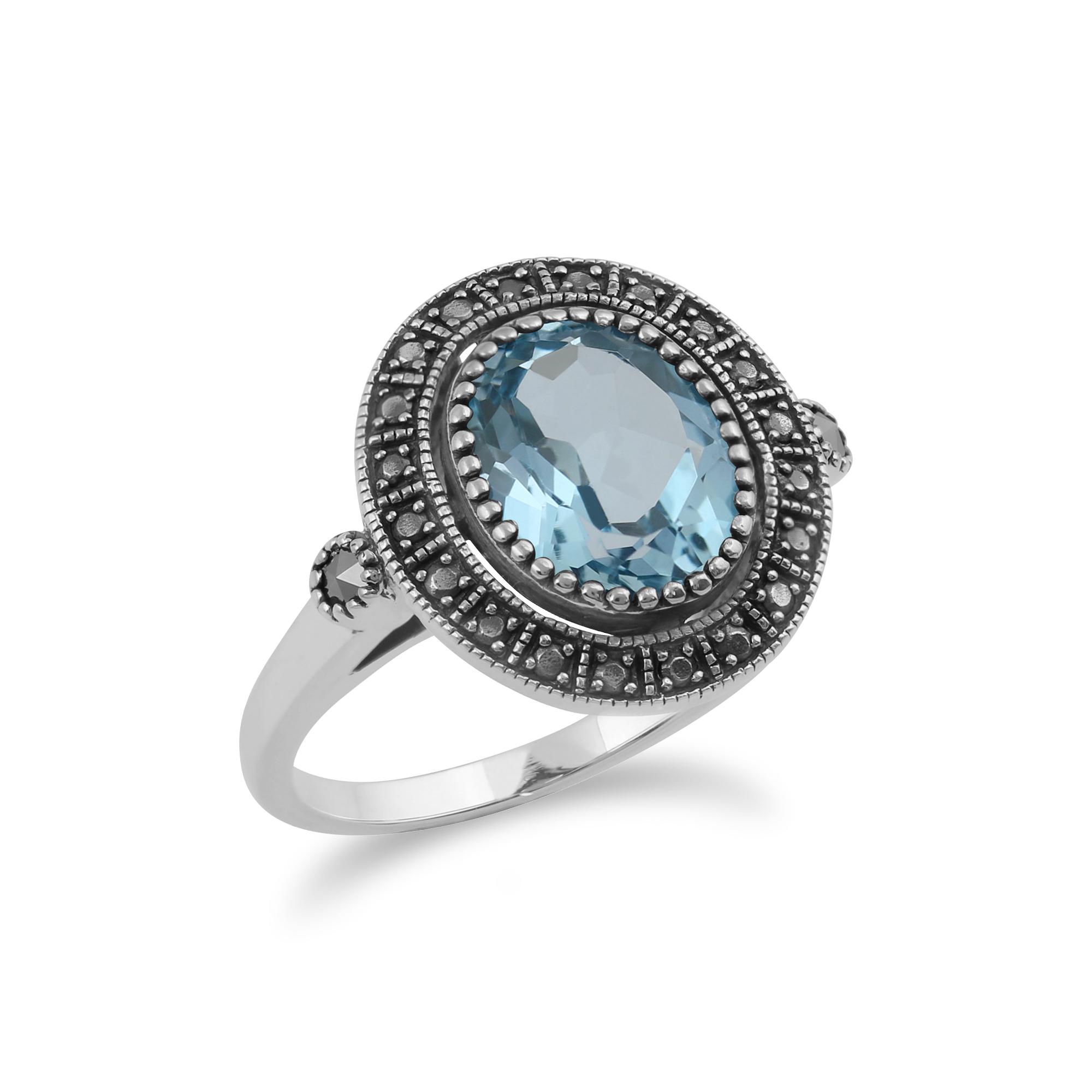 gemondo sterling silver blue topaz marcasite antique