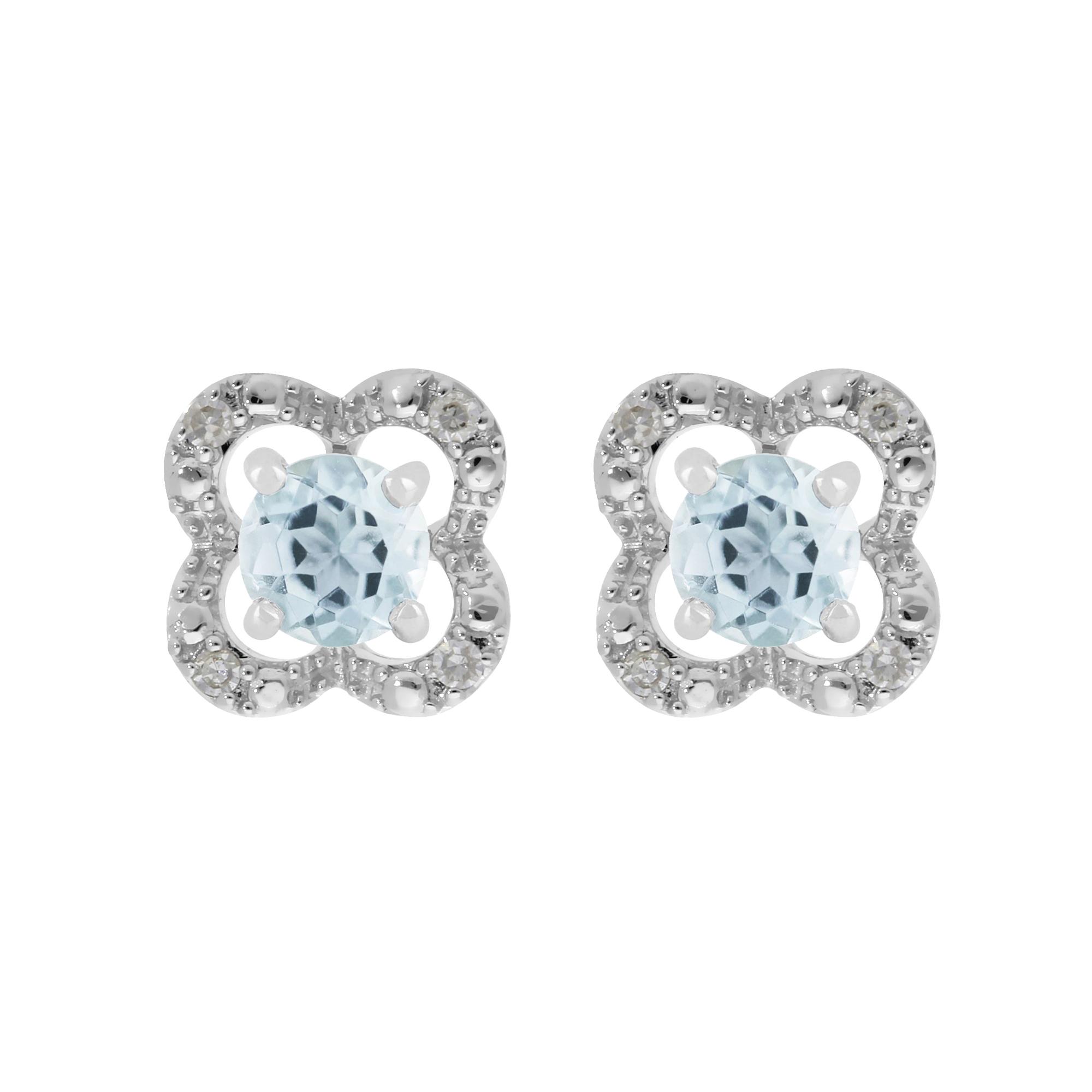 8896ea6a4ecbc Details about 9ct White Gold Aquamarine Stud Earrings & Detachable Diamond  Flower Ear Jacket