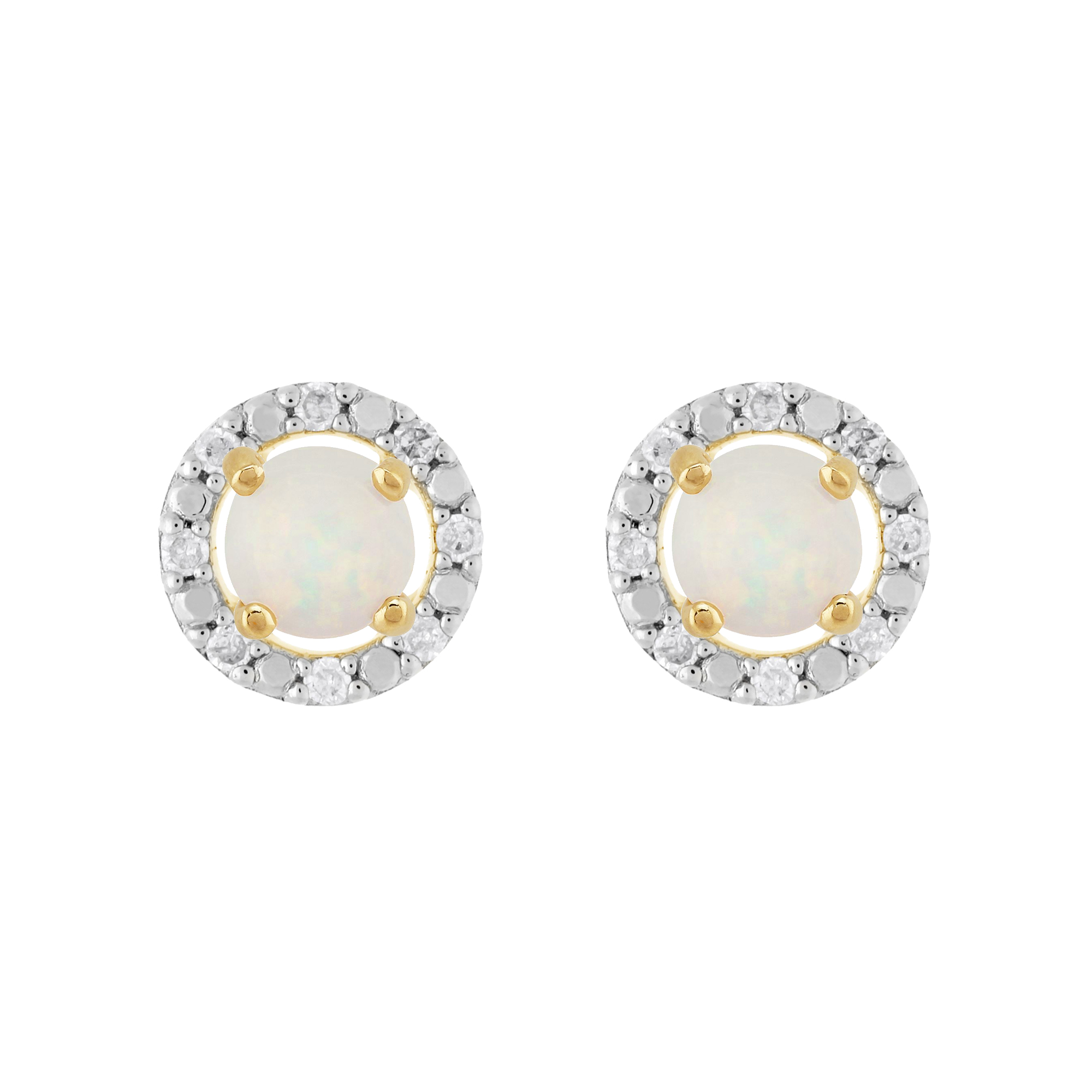 ee6a9be28 Details about 9ct Yellow Gold Opal Stud Earrings & Detachable Diamond Round  Ear Jacket