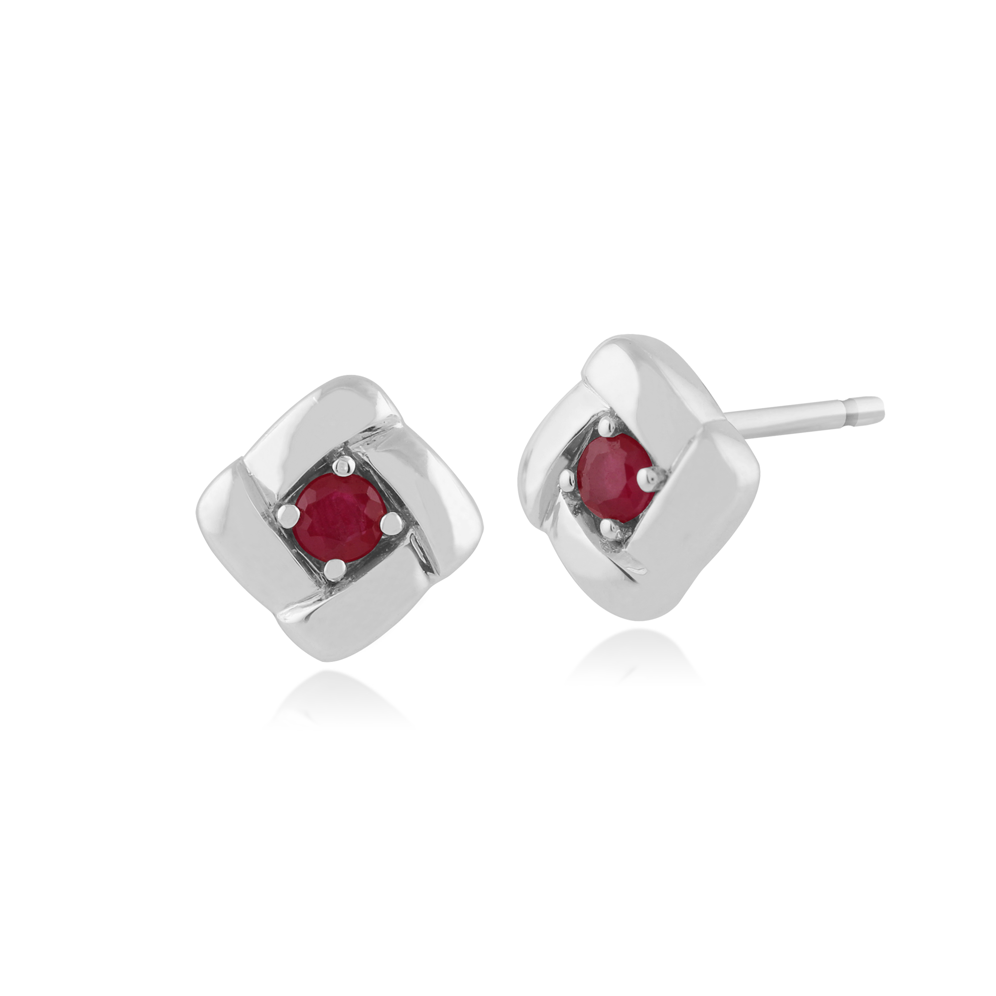 556273579d49 Gemondo 925 Sterling Silver 0.16ct Ruby Square Crossover Stud Earrings