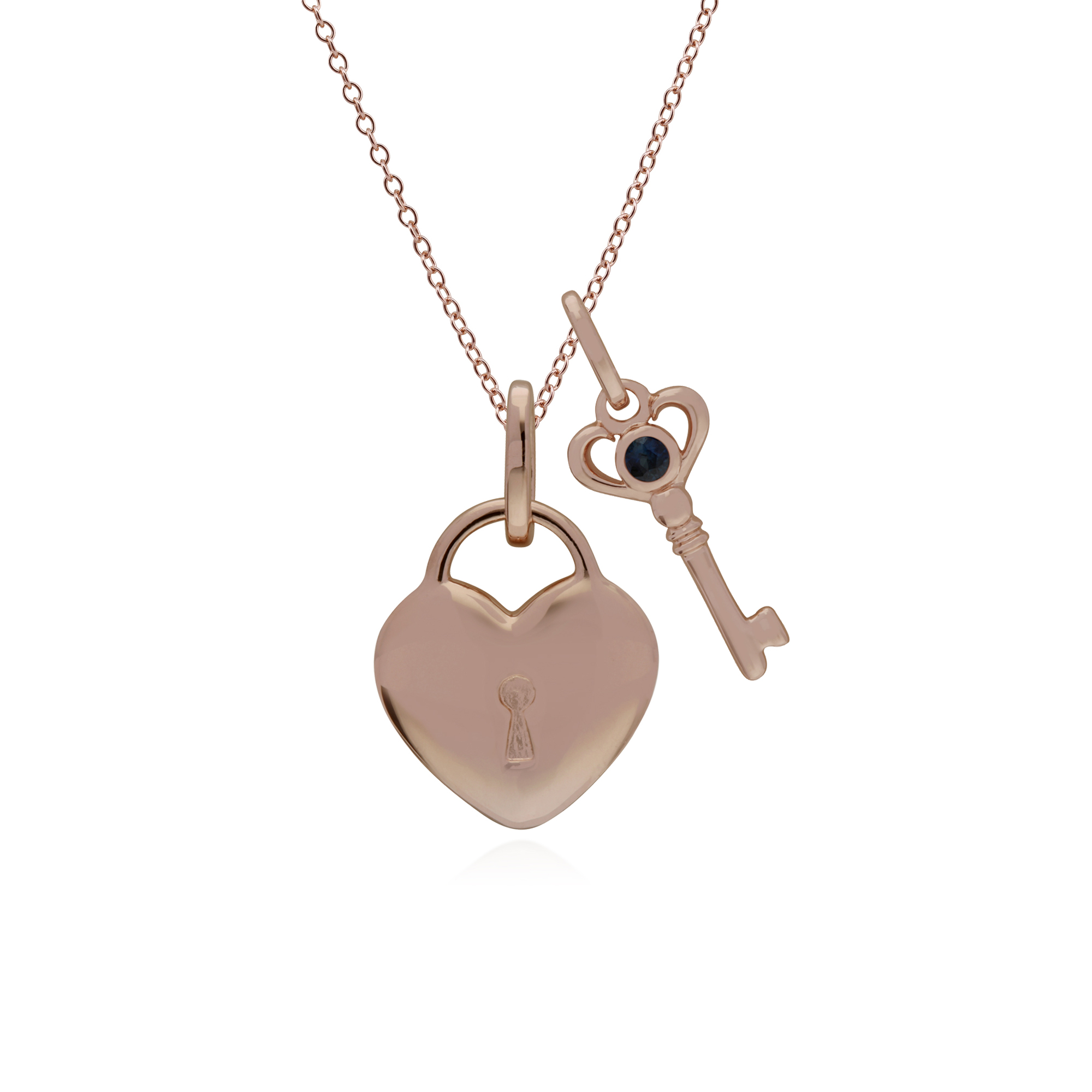4f6bb058b Details about Rose Gold Sterling Silver Plain Heart & Sapphire Key Charm on  45cm Chain