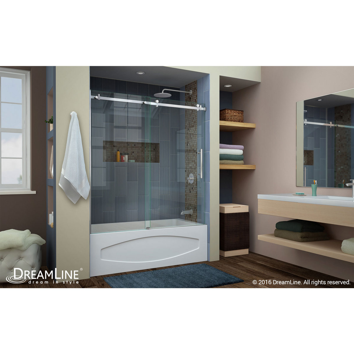 DreamLine Enigma Air 56 to 60 In. Frameless Sliding Tub Door Brushed ...