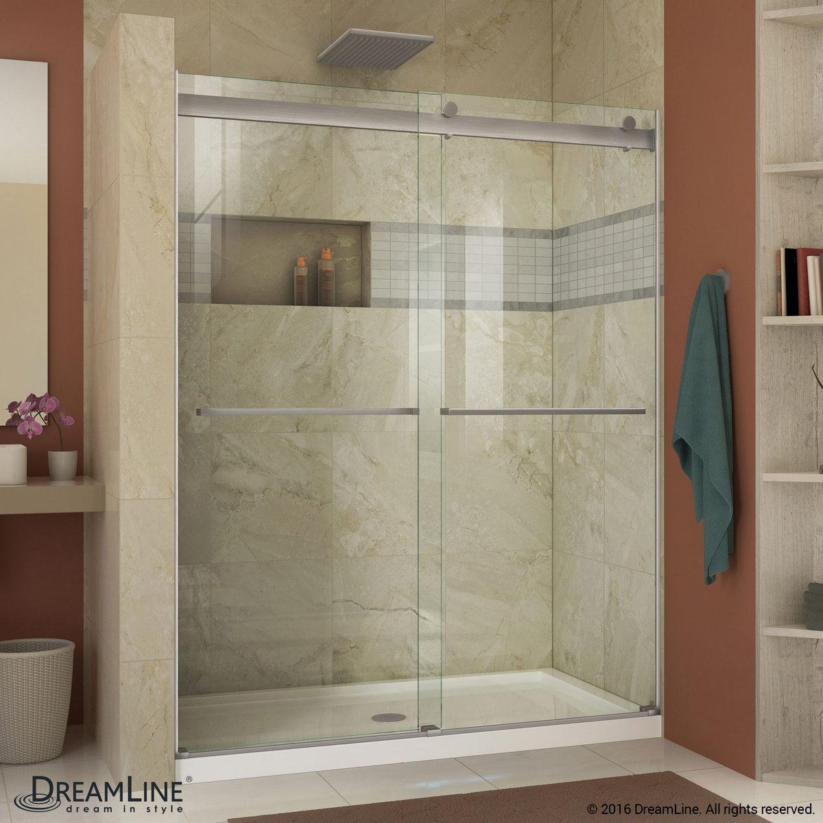 Dreamline Essence 56 To 60 In Frameless Bypass Shower Door Brushed