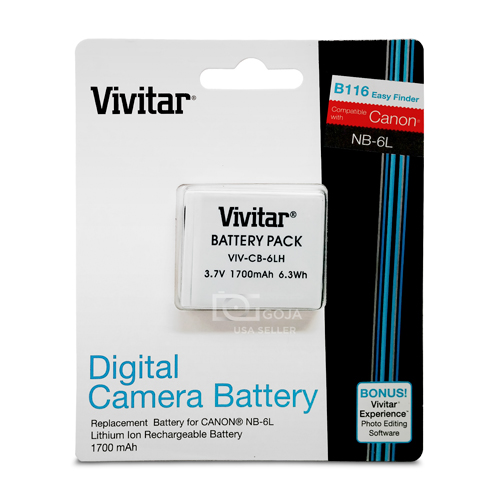 2 PACK NB6L NB6LH Vivitar ULTRA HIGH CAPACITY RECHARGEABLE