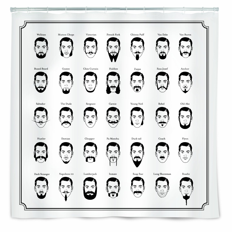 The Gentleman S Shower Curtain Novelty Mustache Beard Facial Hair